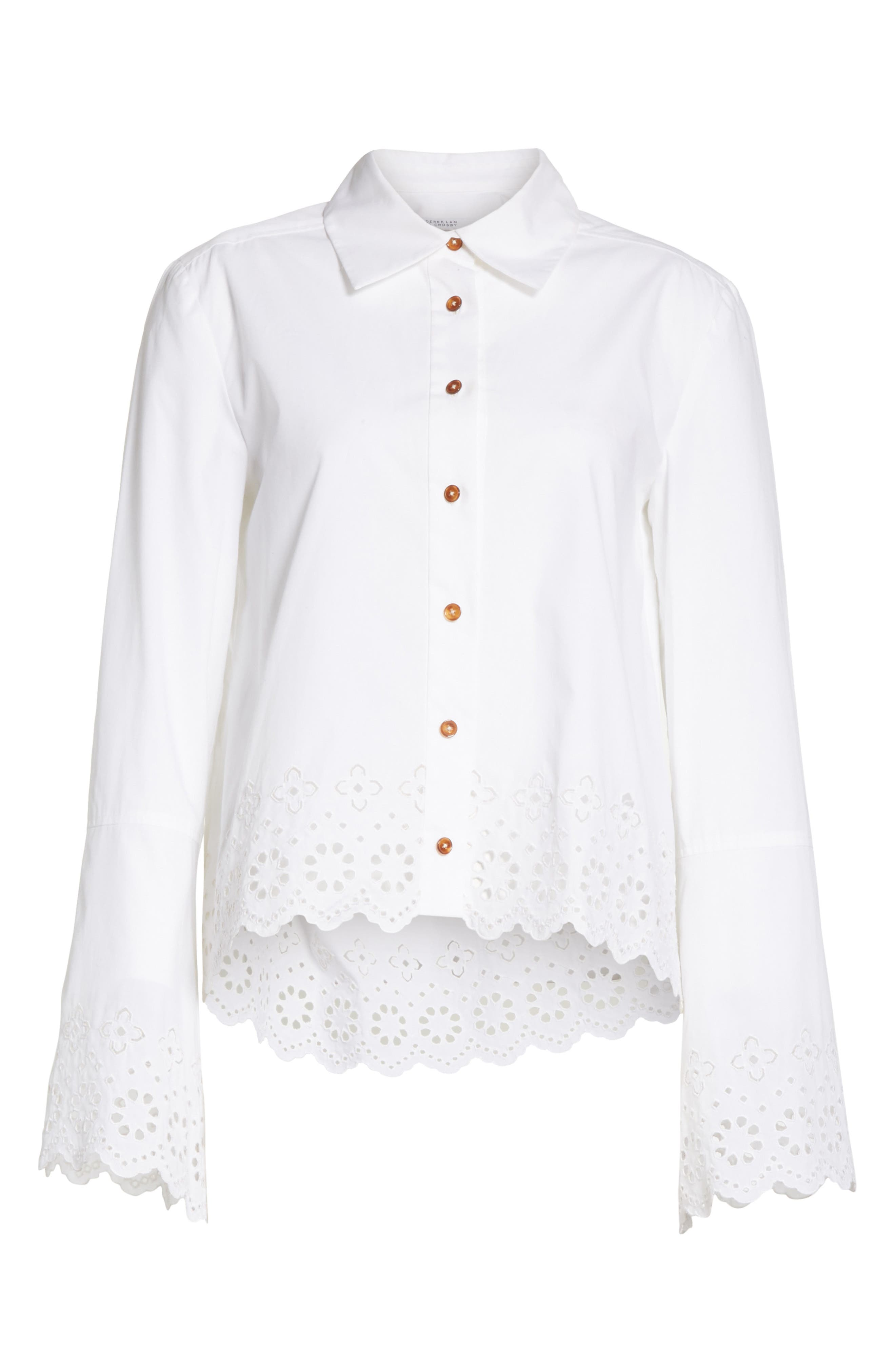 Embroidered Poplin Top,                             Alternate thumbnail 6, color,                             Optic White