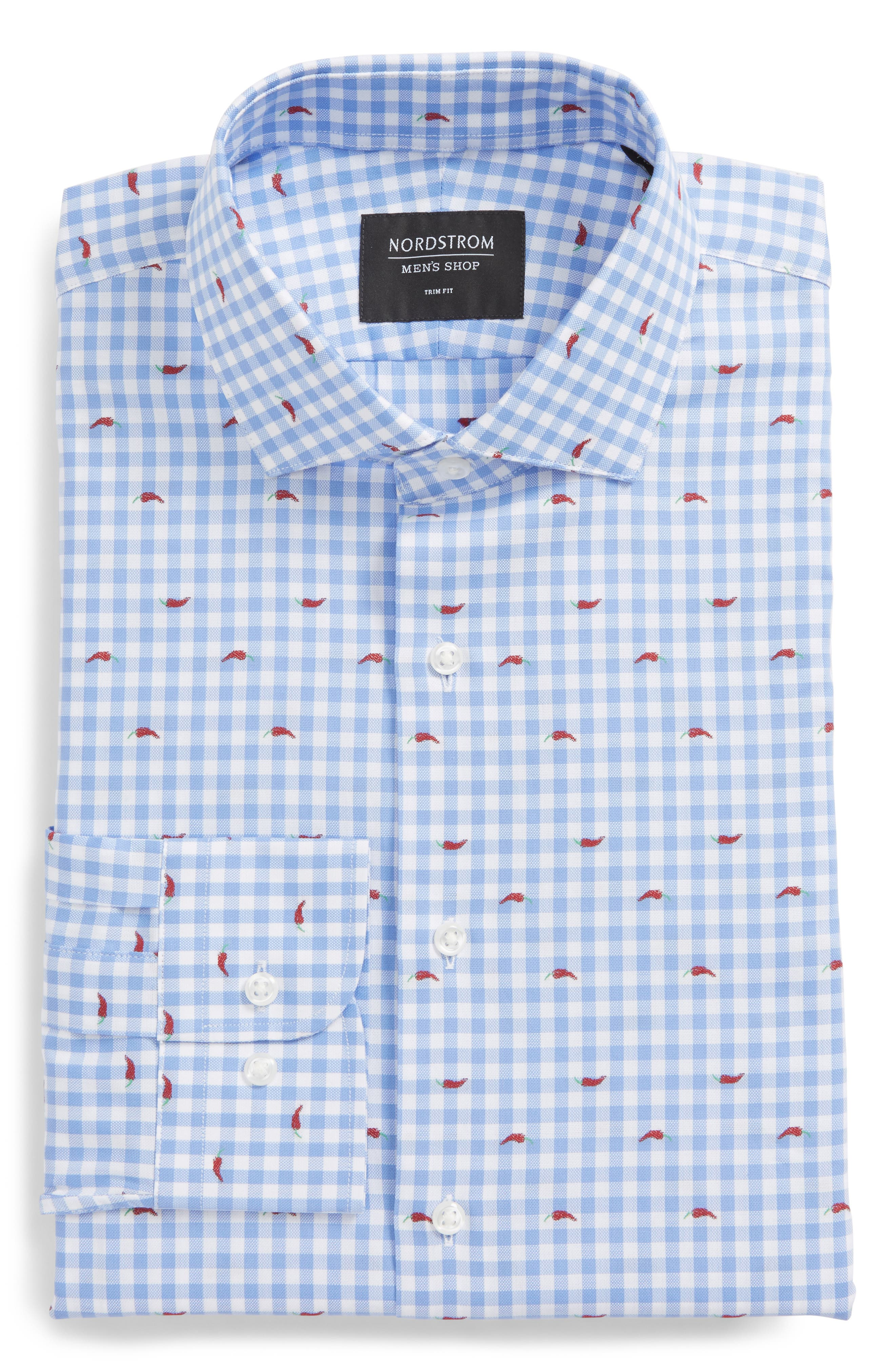 Trim Fit Gingham Chili Pepper Dress Shirt,                             Alternate thumbnail 6, color,                             Blue Hydrangea
