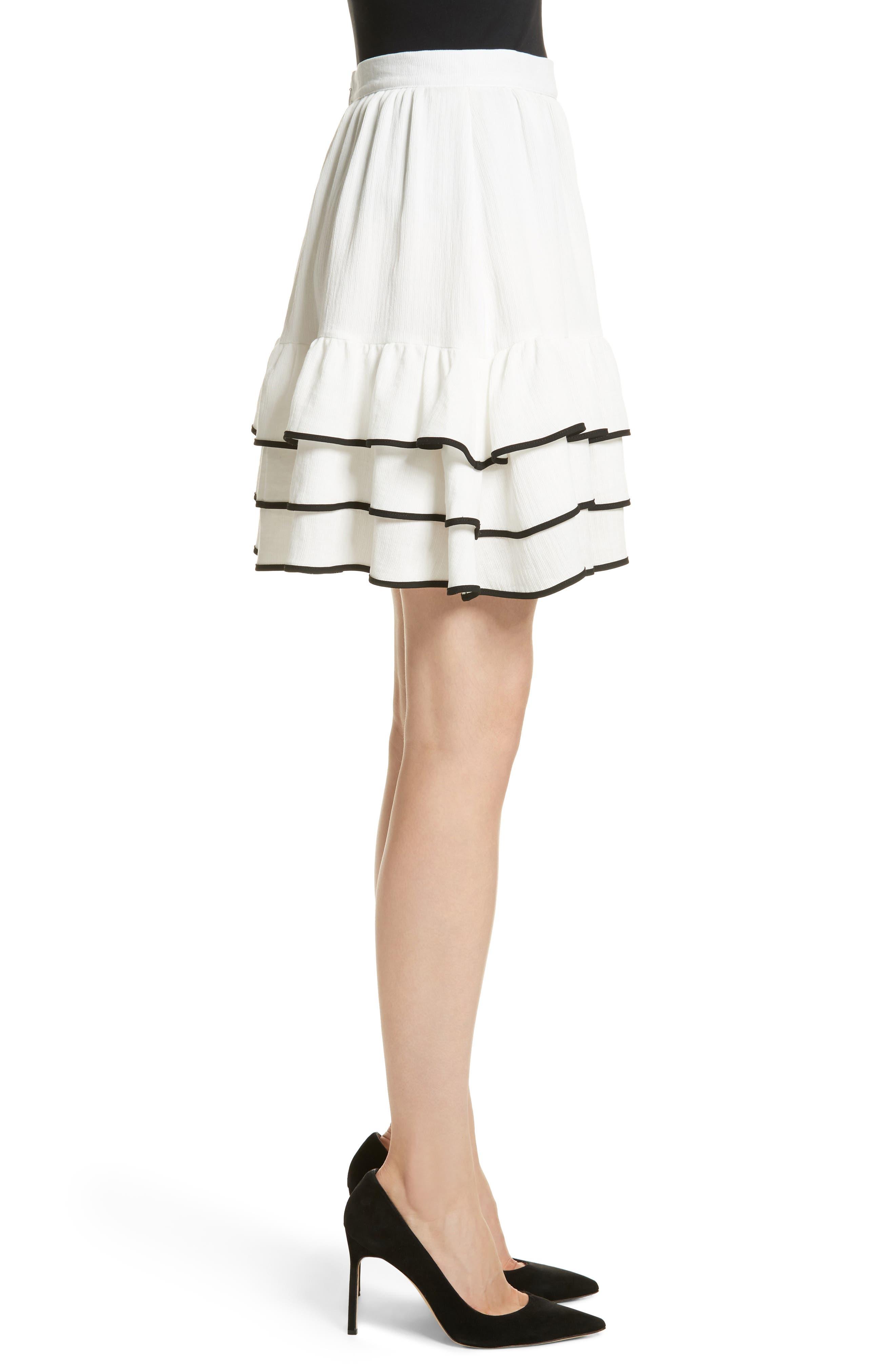 Prose & Poetry Carice Ruffle Miniskirt,                             Alternate thumbnail 3, color,                             Alabaster