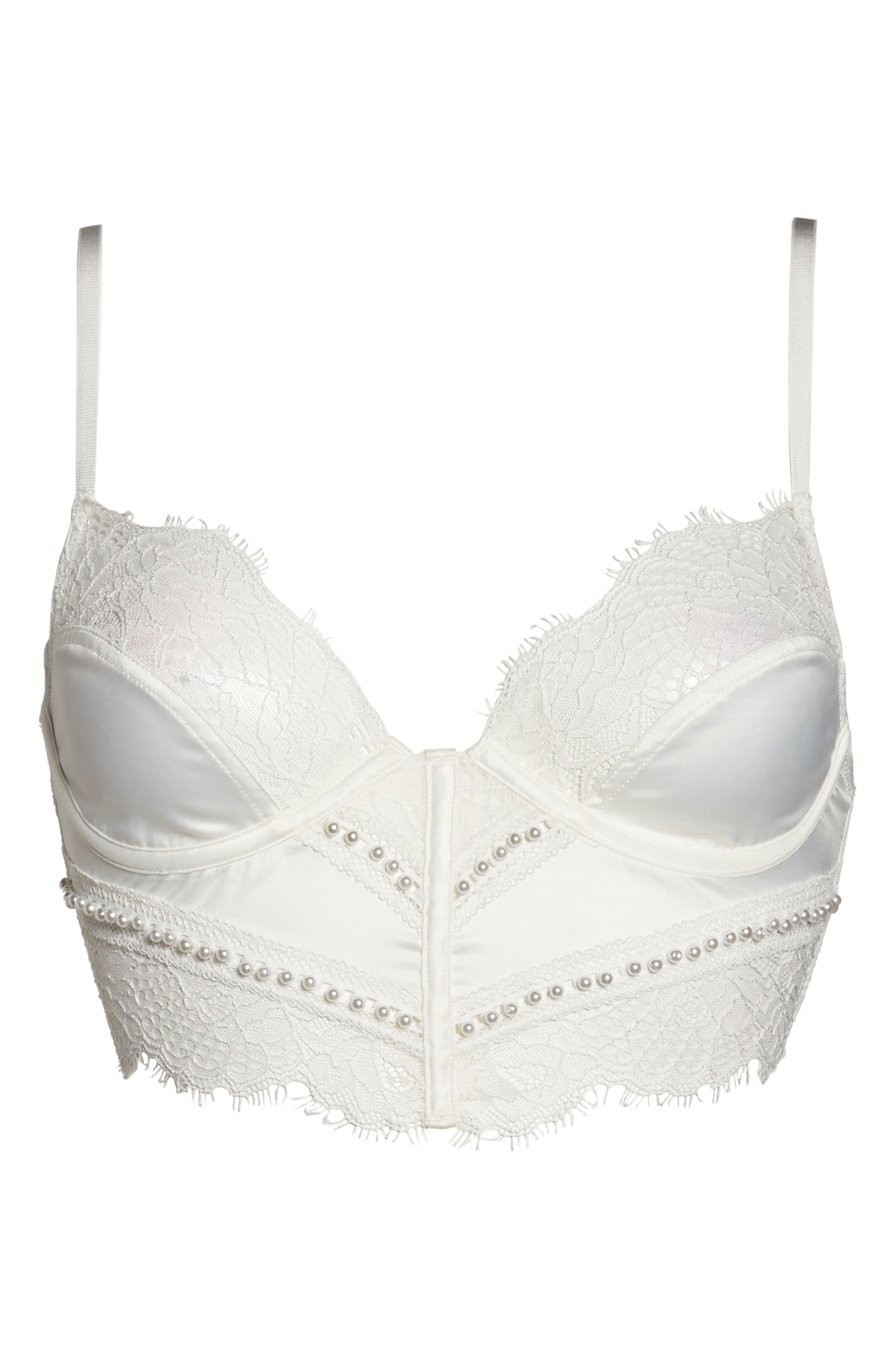 Thistle & Spire Sterling Embellished Underwire Bustier Lace Bra,                             Alternate thumbnail 4, color,                             Ivory