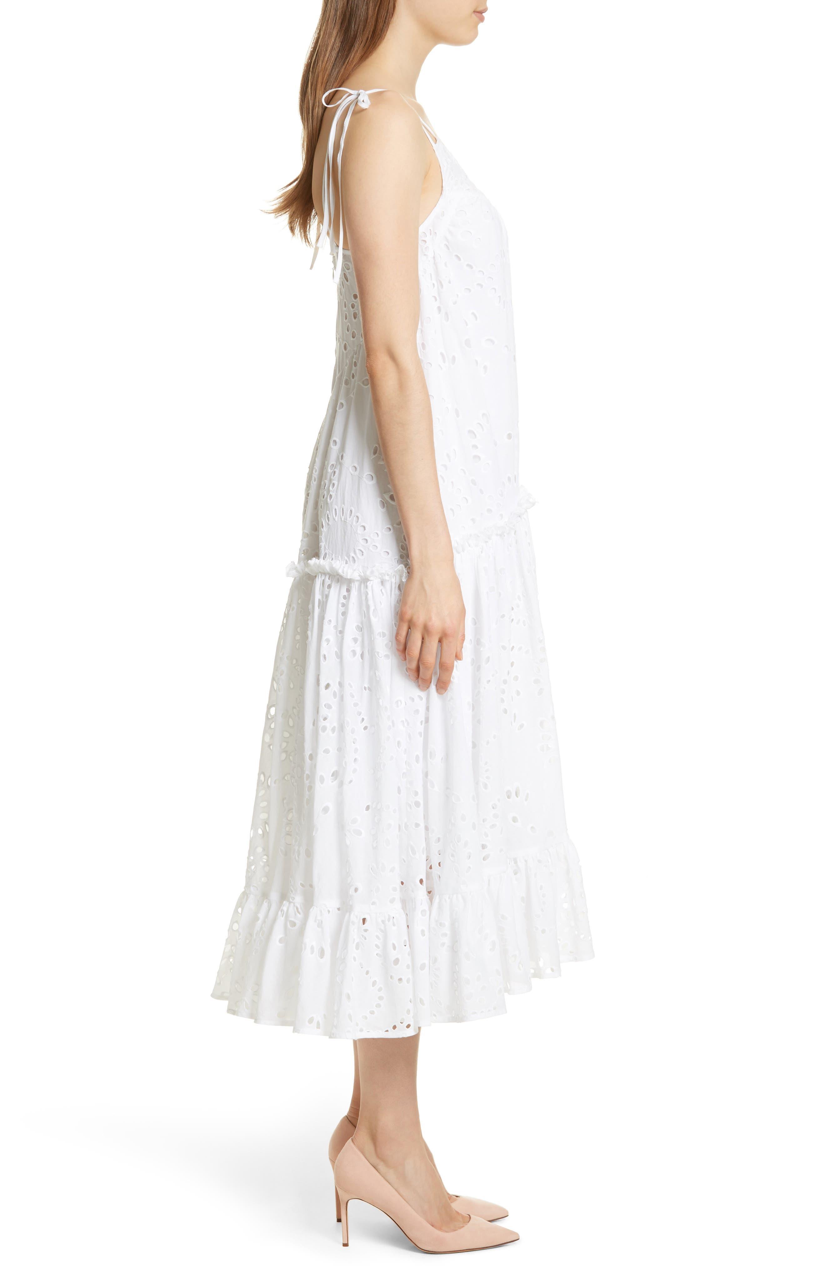Prose & Poetry Kerr Eyelet Peasant Midi Dress,                             Alternate thumbnail 3, color,                             Cloud White
