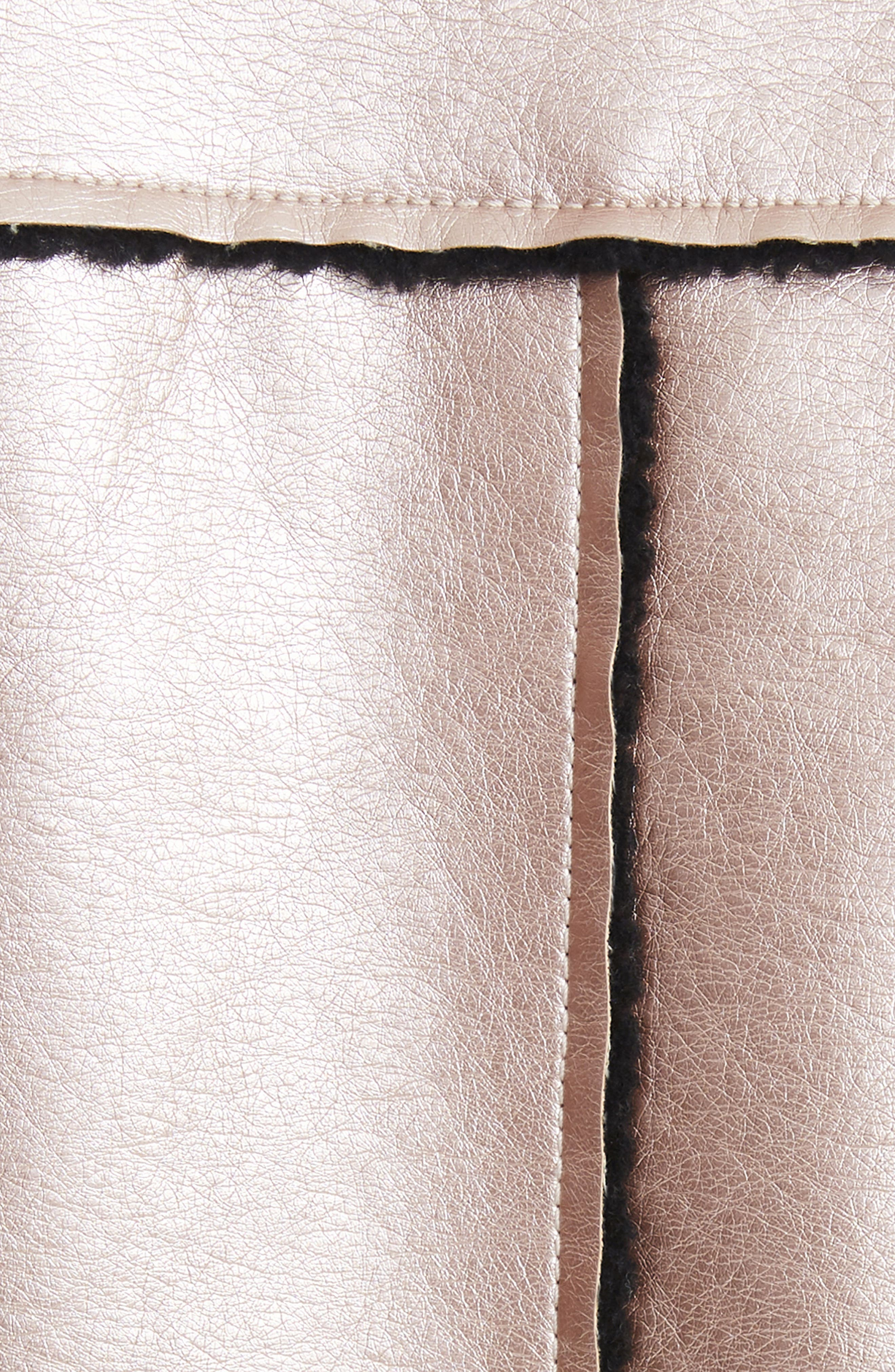 Ophelia Oversize Faux Shearling Jacket,                             Alternate thumbnail 5, color,                             Metallic