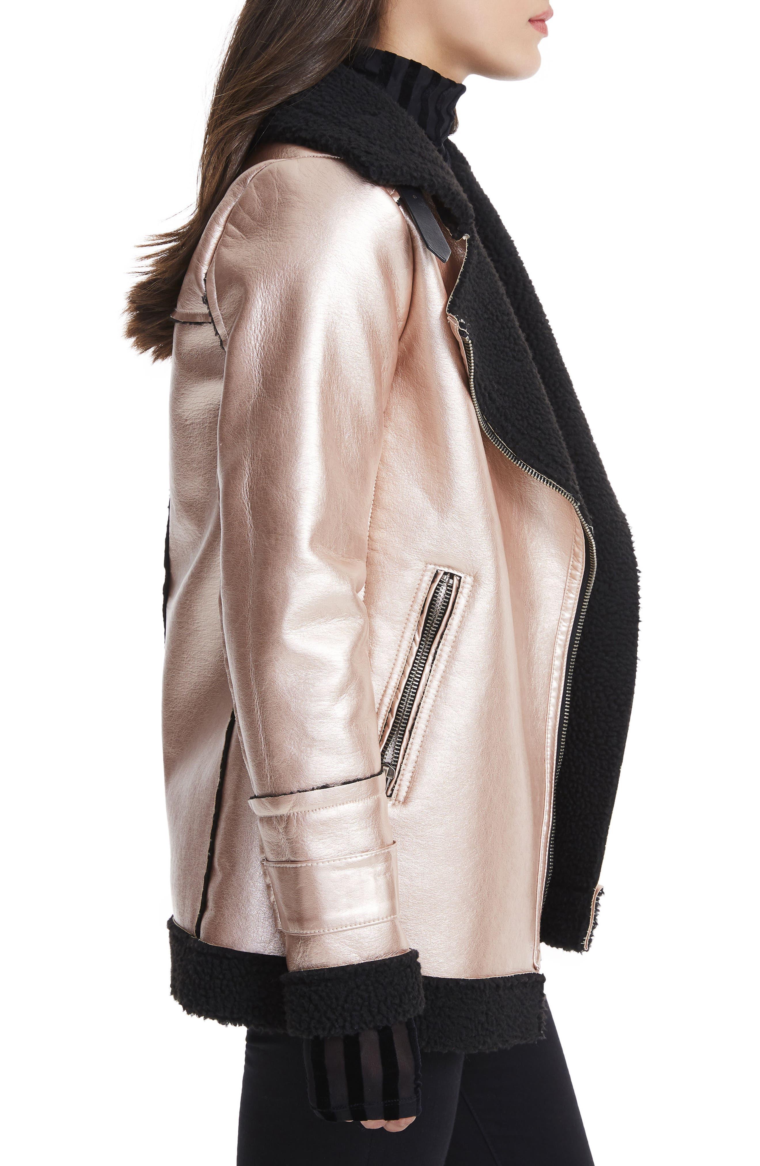 Ophelia Oversize Faux Shearling Jacket,                             Alternate thumbnail 3, color,                             Metallic