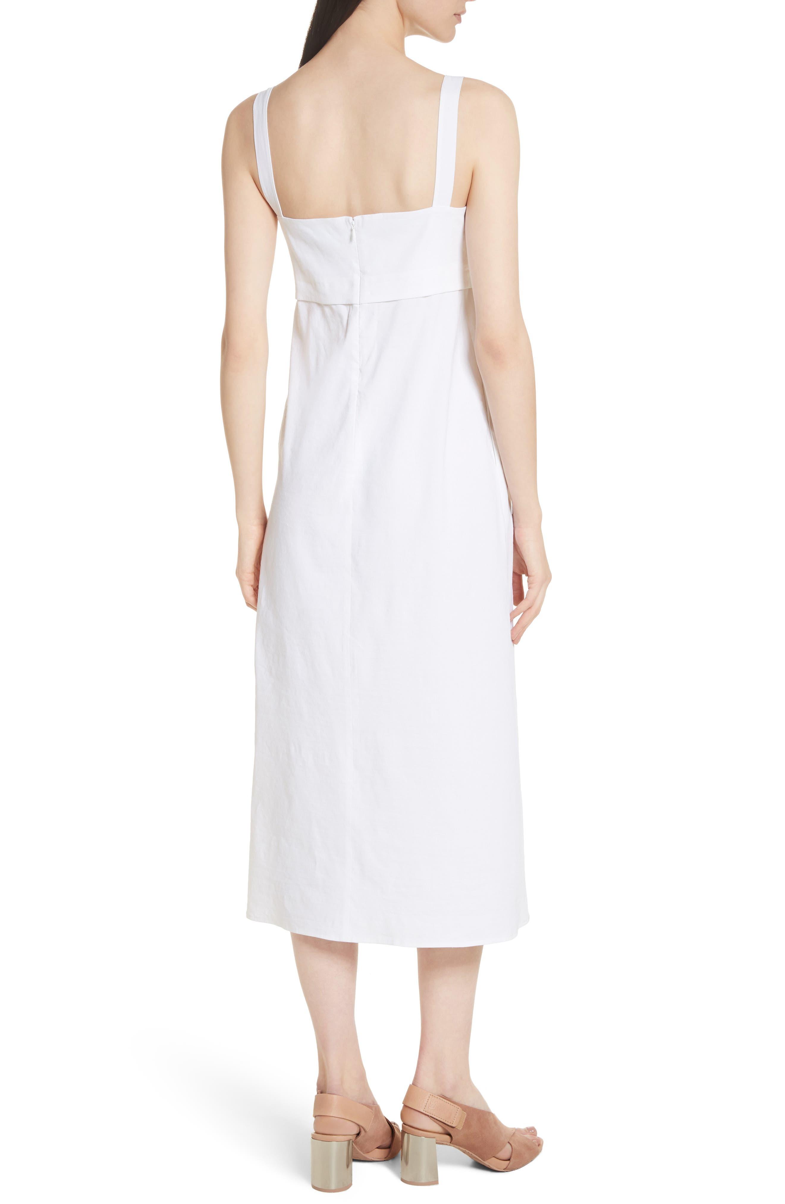 Empire Waist Midi Dress,                             Alternate thumbnail 2, color,                             White