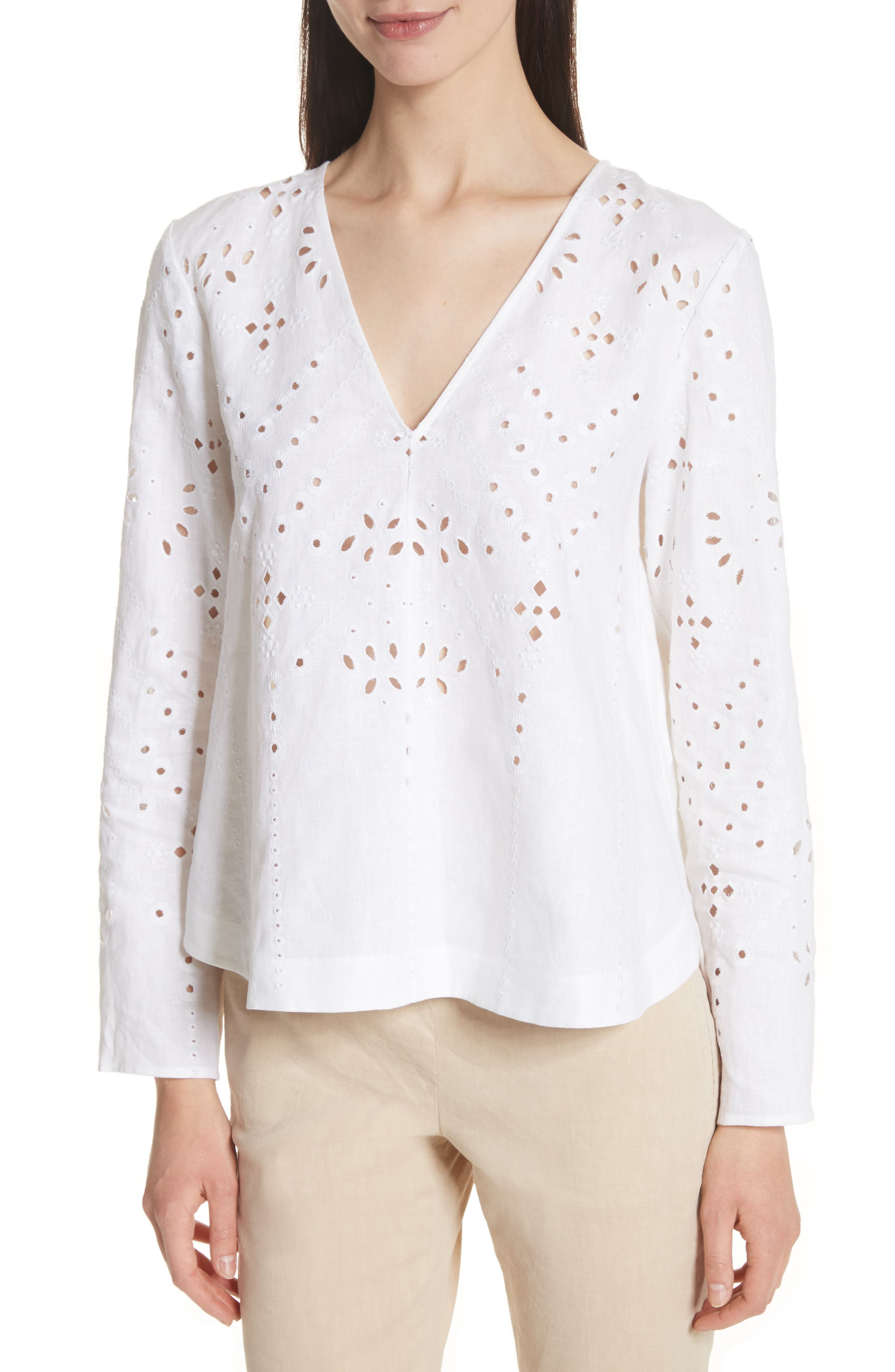 Relaxed V-Neck Eyelet Linen Top,                             Main thumbnail 1, color,                             White