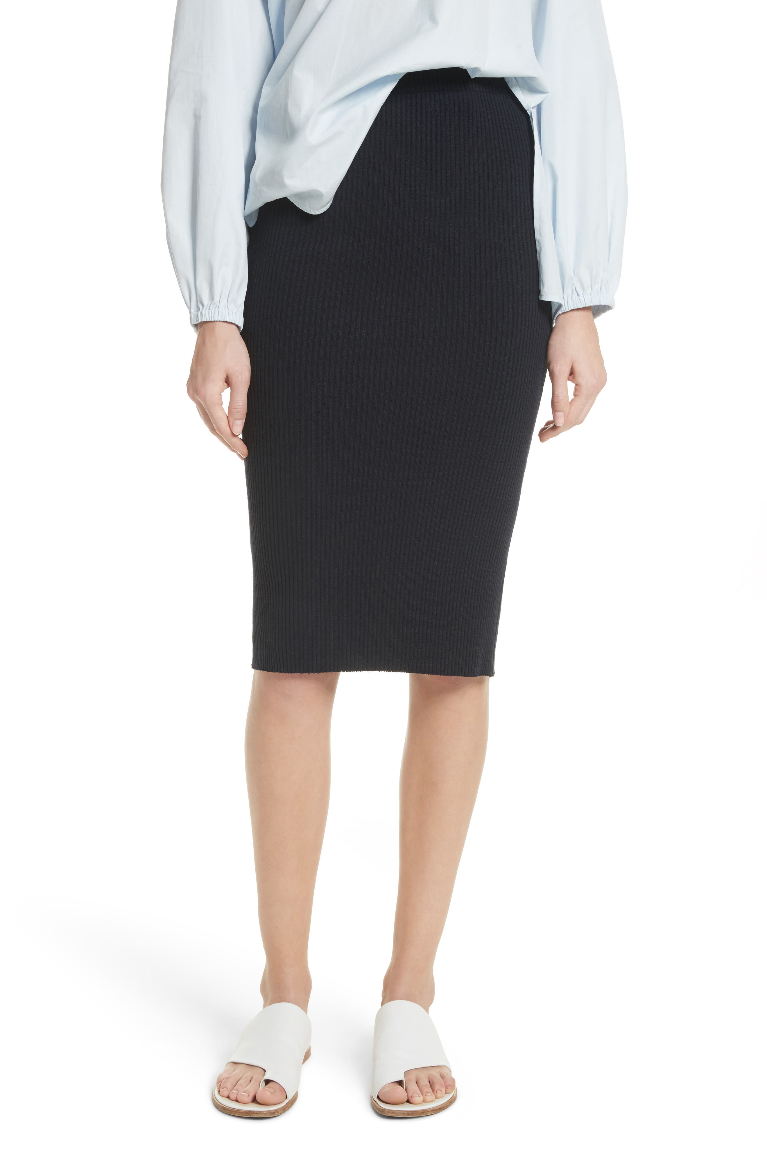Ribbed Pencil Skirt,                         Main,                         color, Coastal