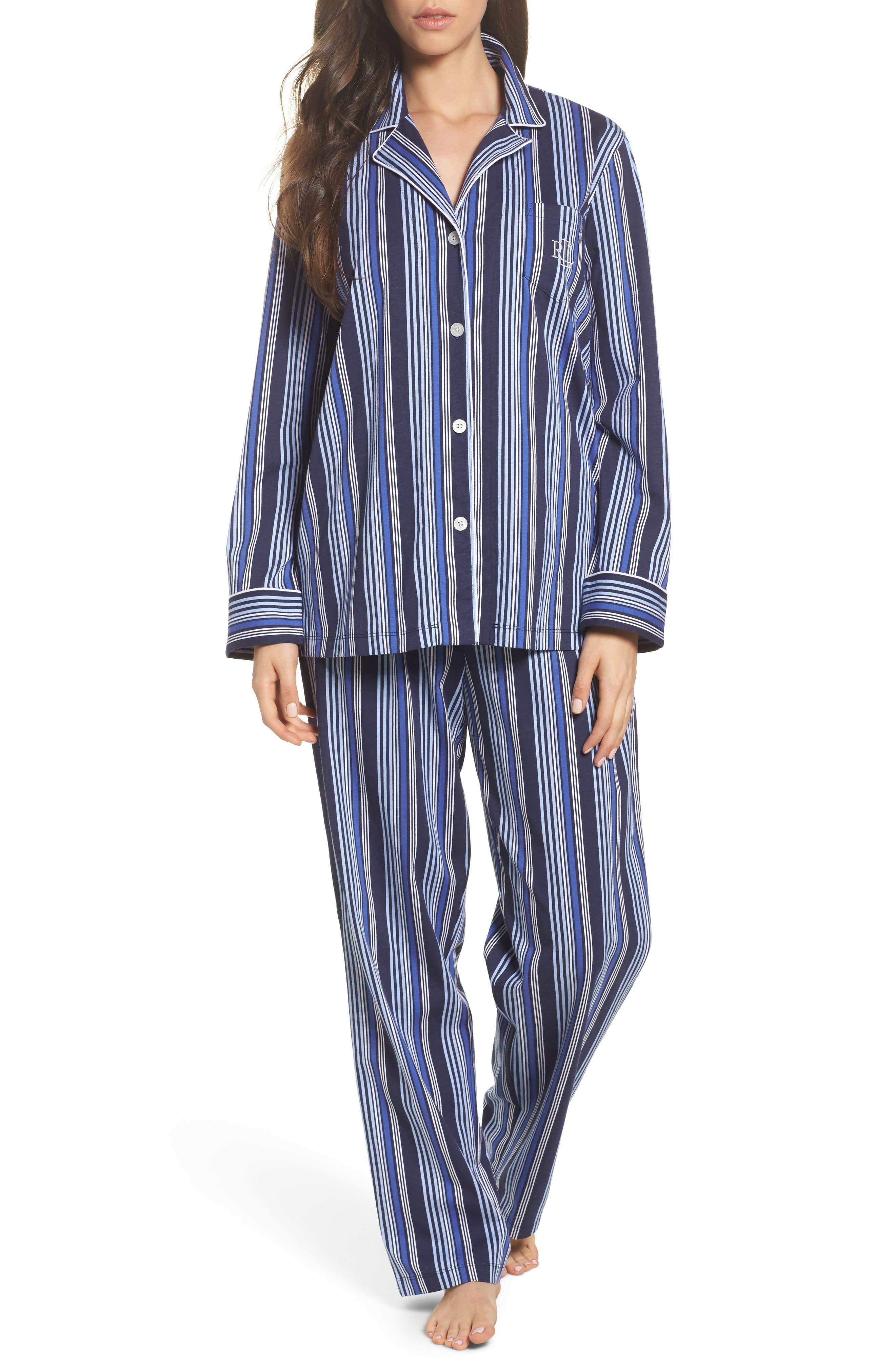 Cotton Pajamas,                         Main,                         color, Blue Stripe