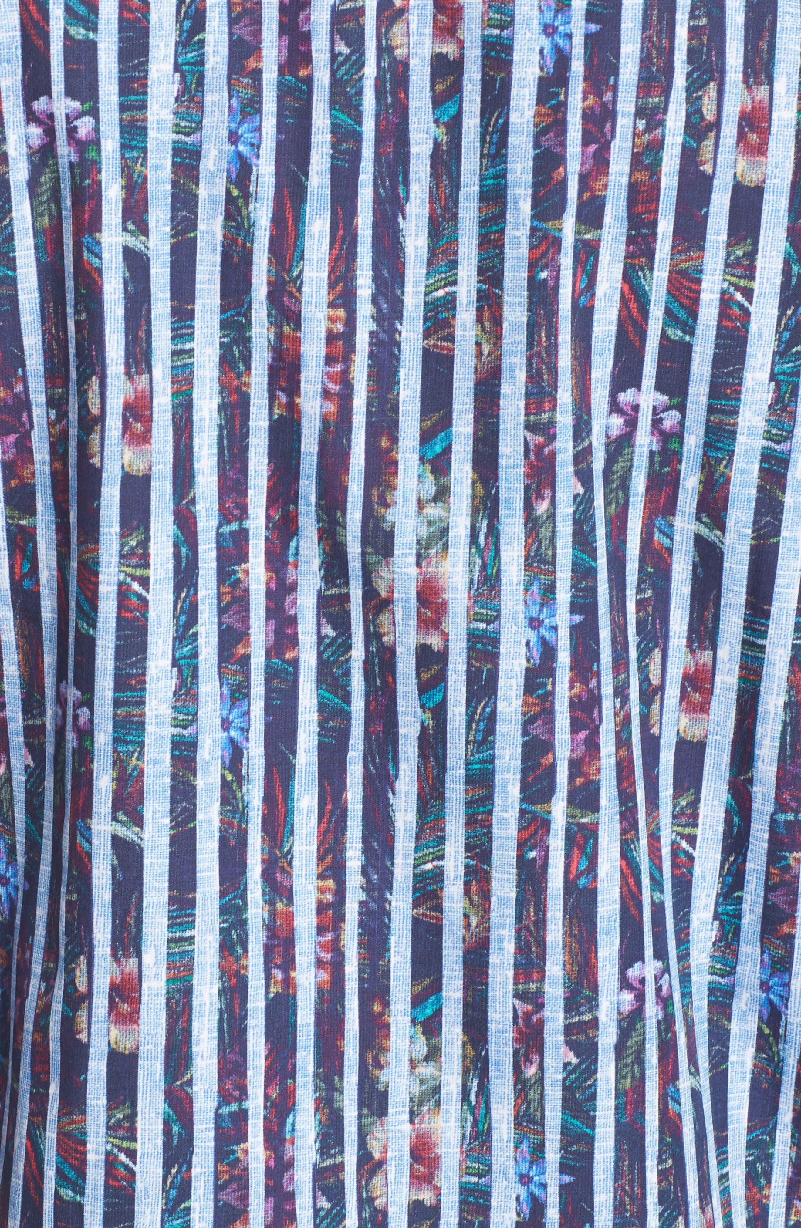 Classic Fit Stripe Sport Shirt,                             Alternate thumbnail 5, color,                             Midnight