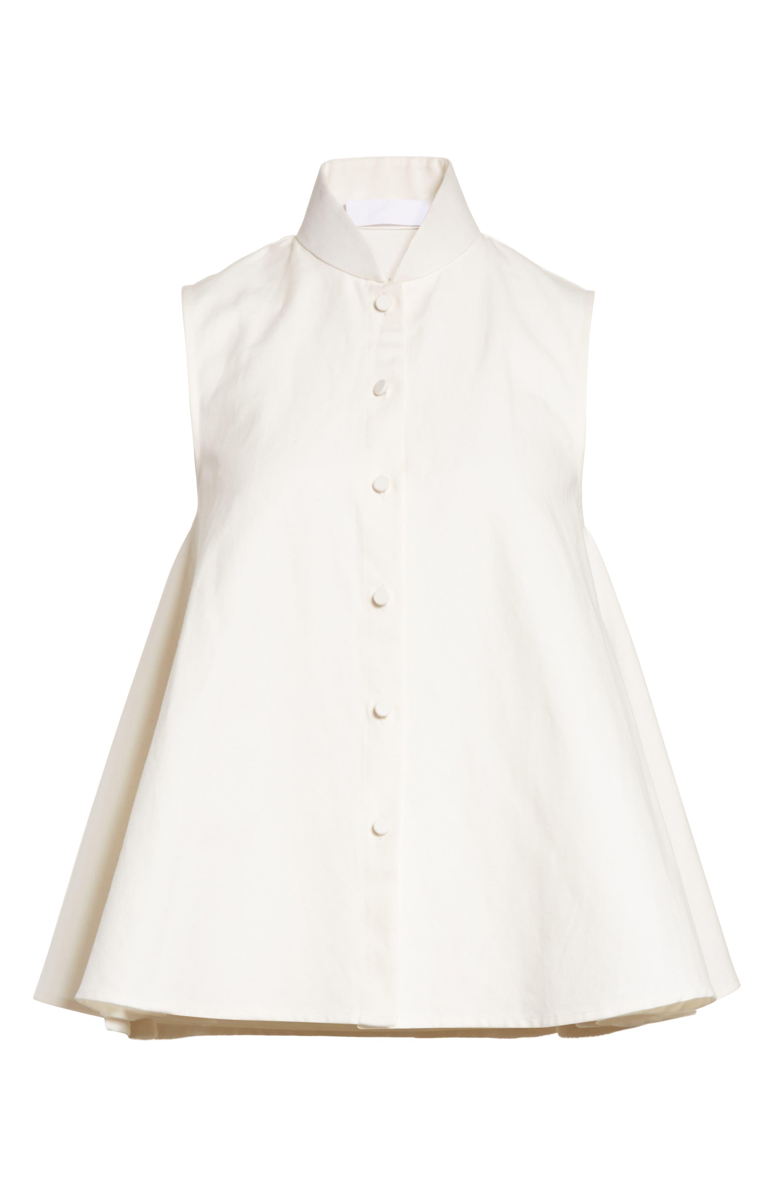 Linen & Cotton Swing Top,                             Alternate thumbnail 7, color,                             Ivory