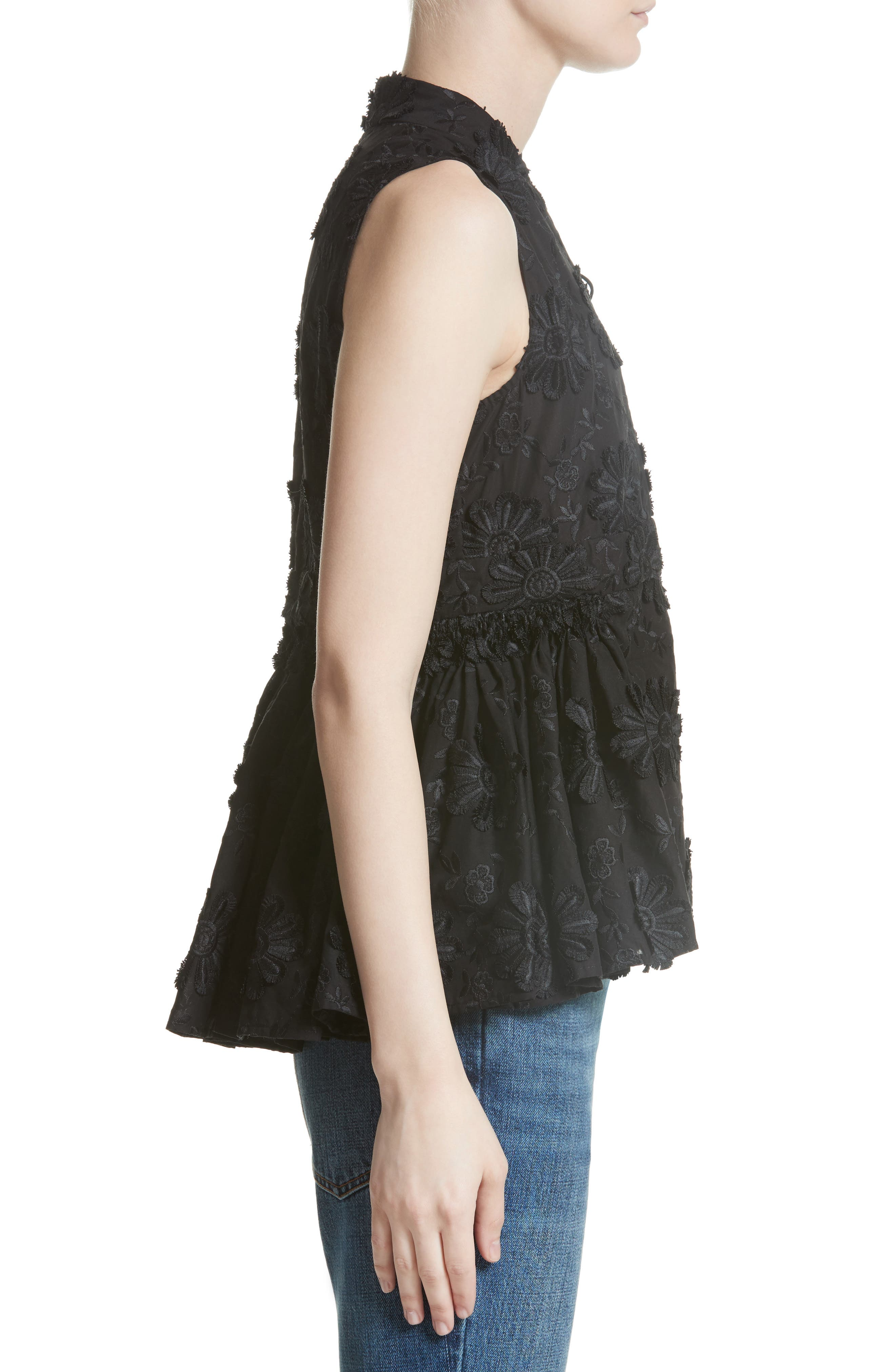 Floral Embroidered Peplum top,                             Alternate thumbnail 3, color,                             Black