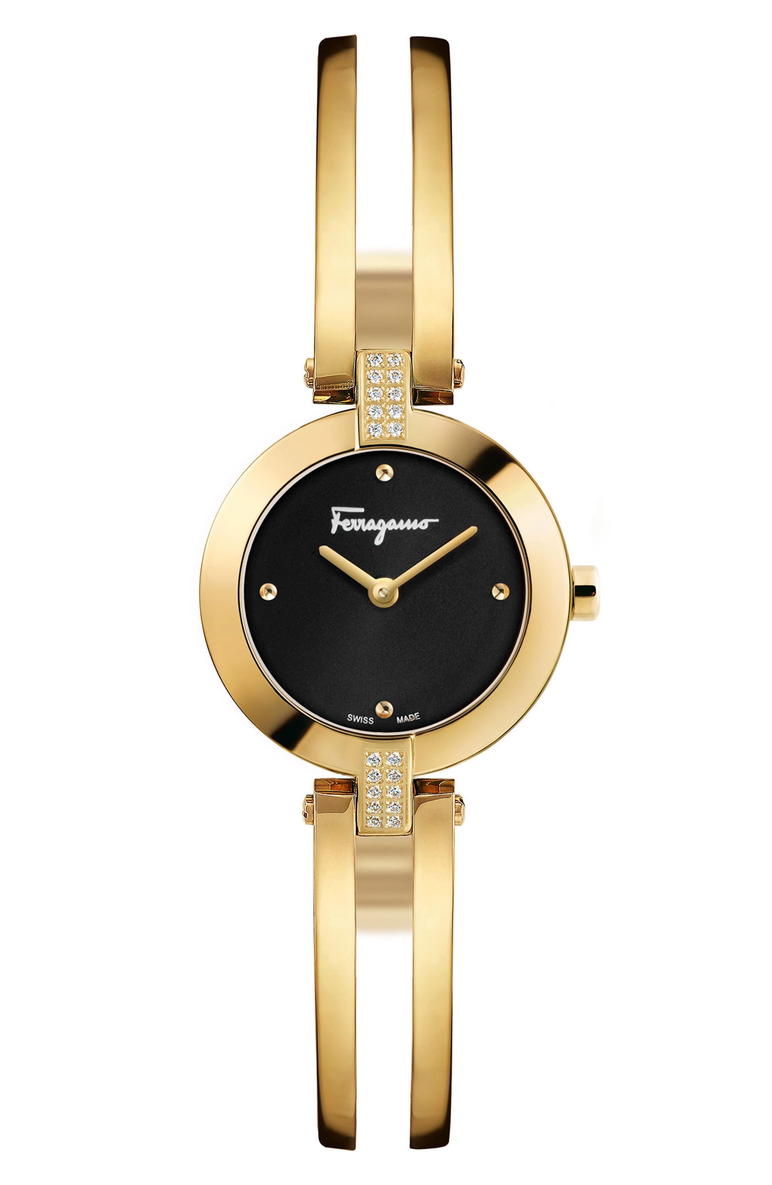 Miniature Bracelet Watch, 26mm,                             Main thumbnail 1, color,                             Gold/ Black/ Gold