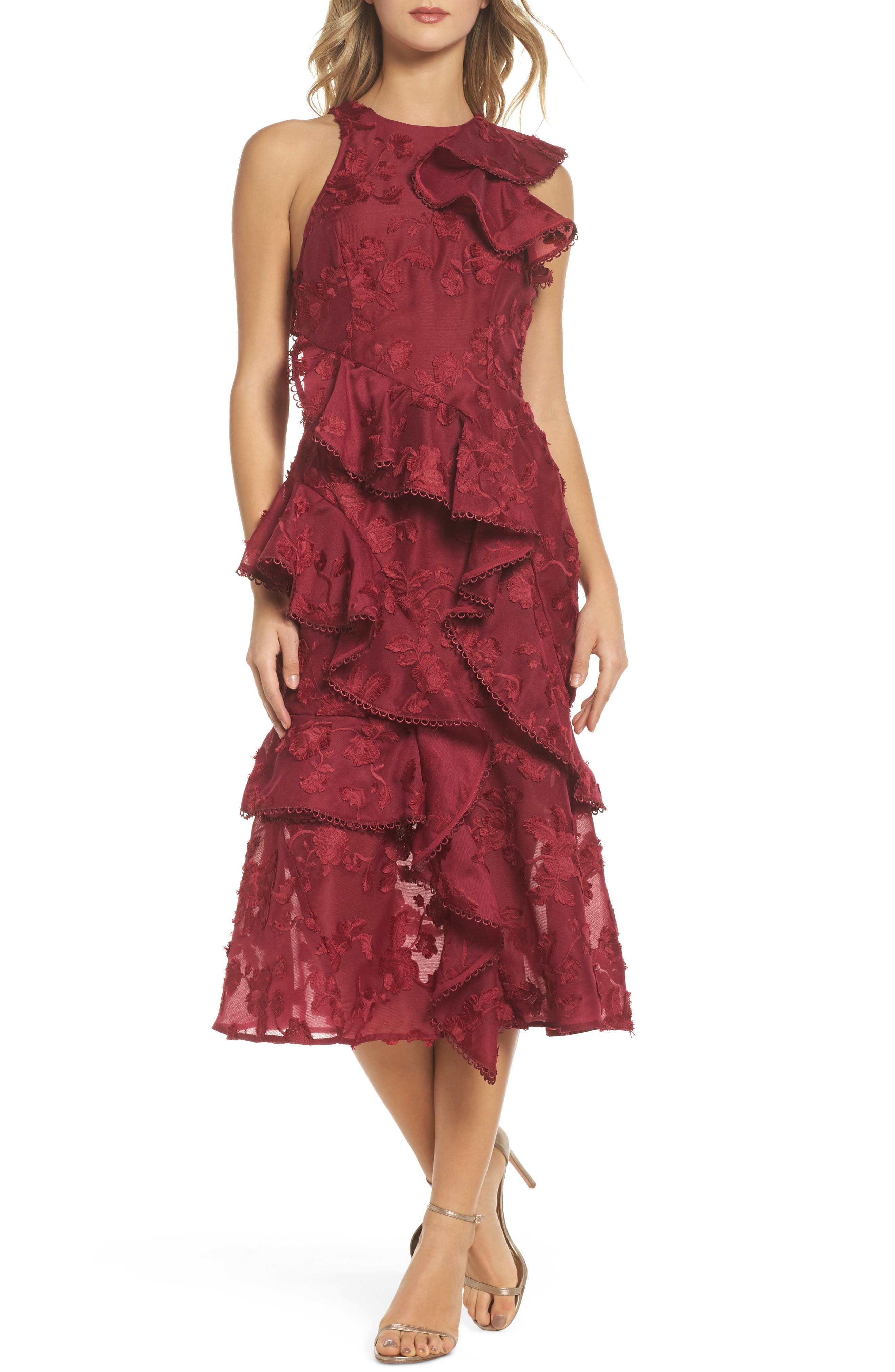 Shine Ruffle Lace Tea Length Dress,                             Main thumbnail 1, color,                             Raspberry