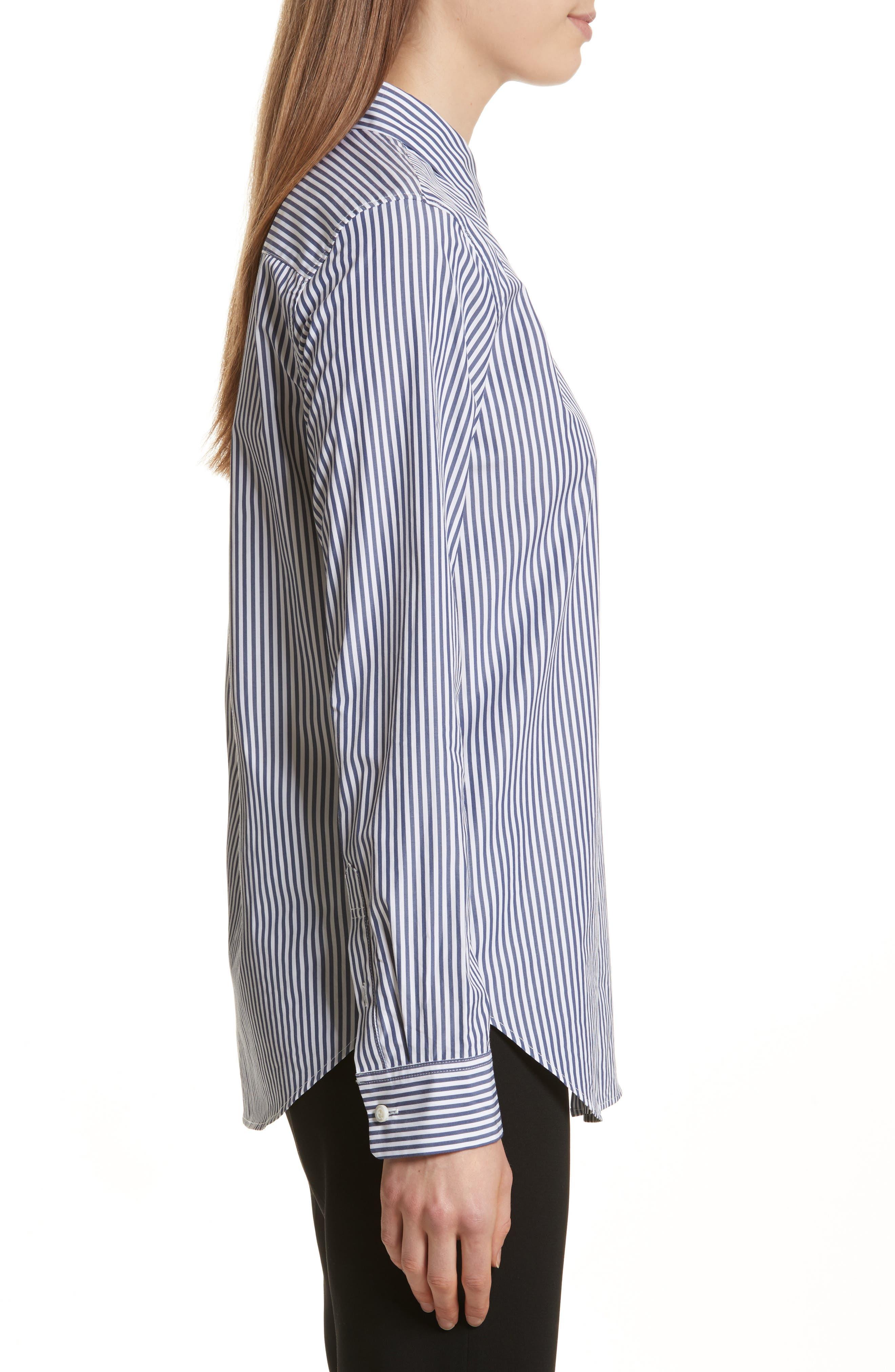 Essential Button Down Cotton Shirt,                             Alternate thumbnail 3, color,                             Blue/ White