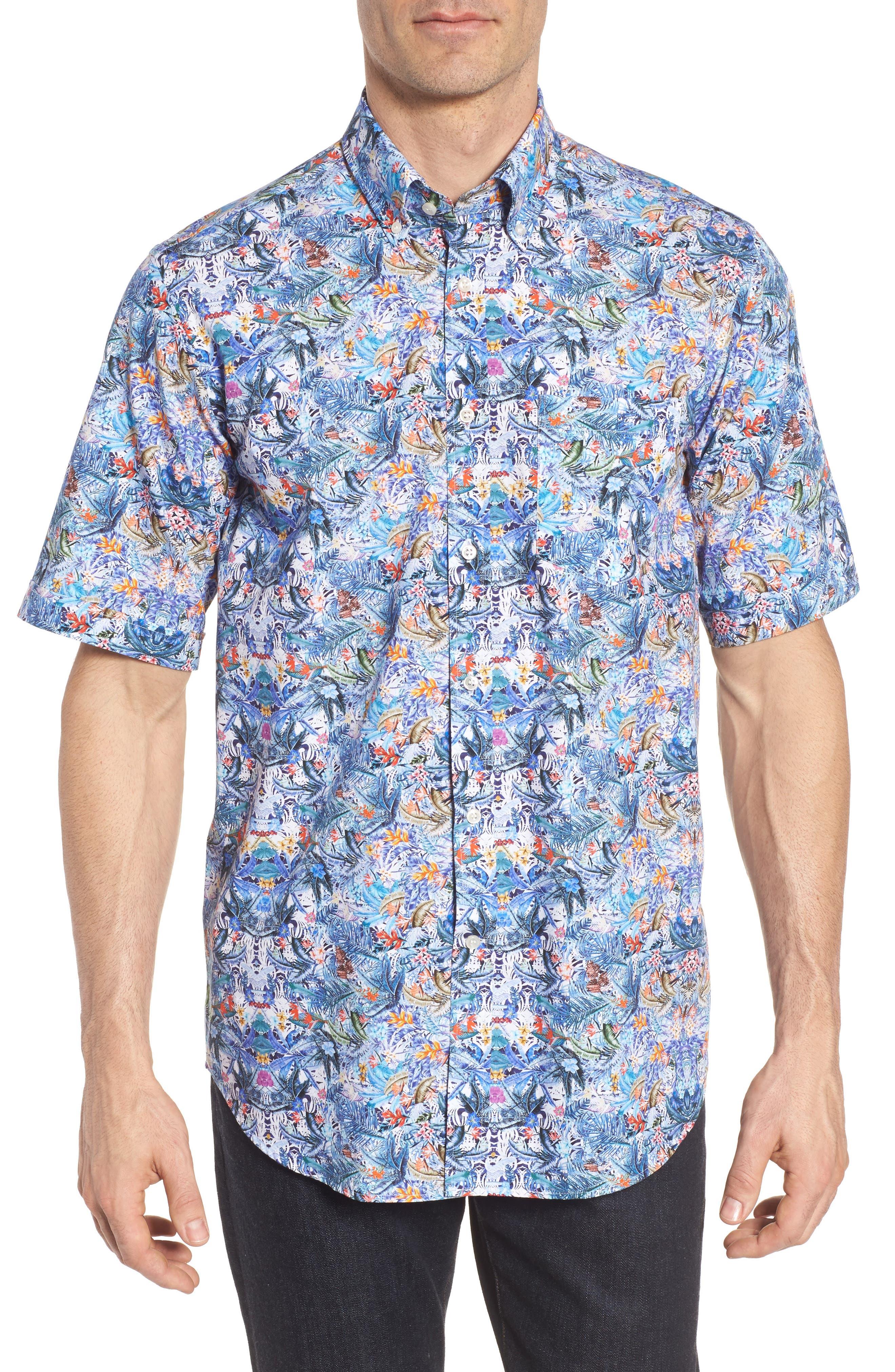 Paul&Shark Regular Fit Tropical Print Sport Shirt,                             Main thumbnail 1, color,                             Multi