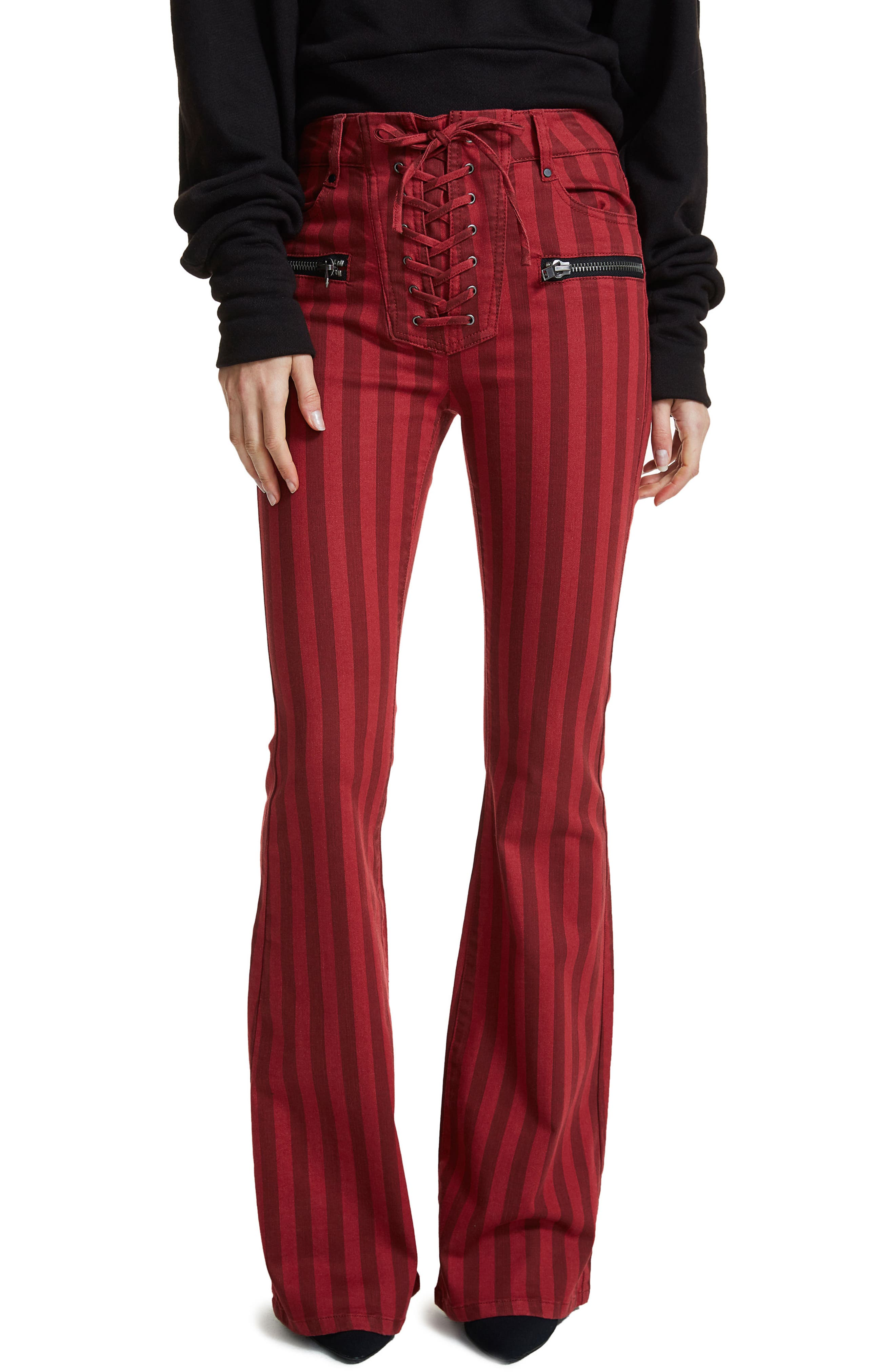 AFRM Claire Lace-Up Flare Leg Jeans (Red Stripe)