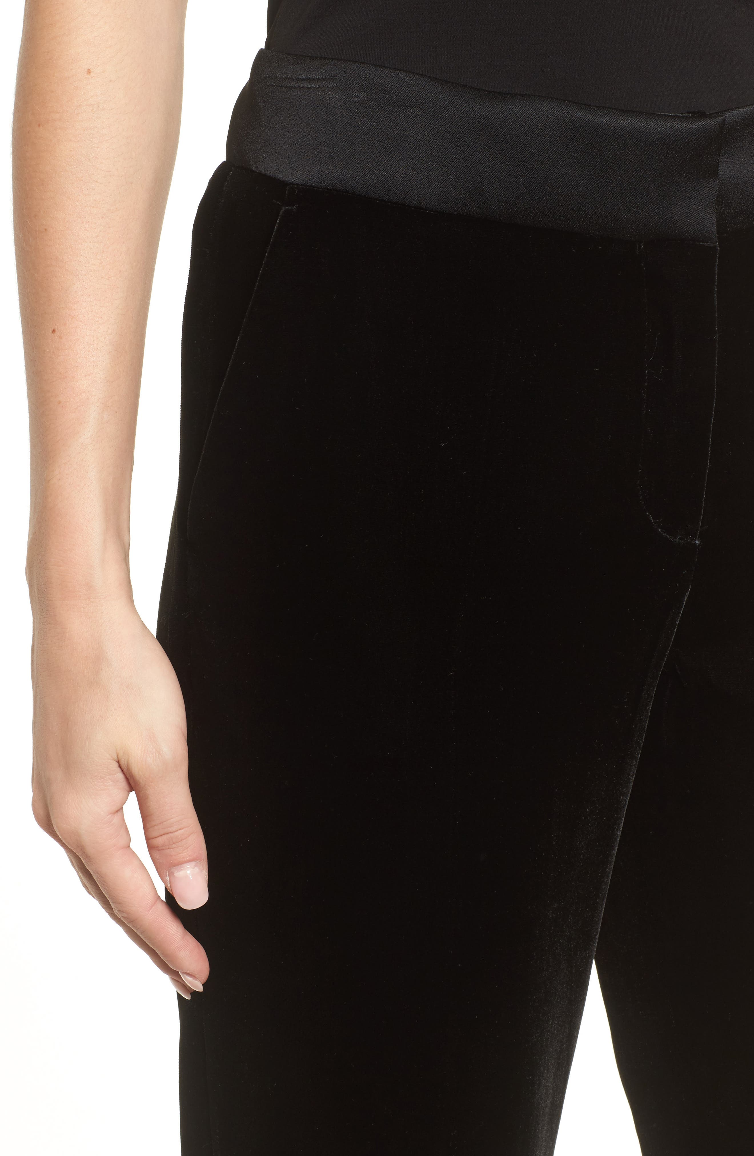 Tolesa Straight Leg Velvet Pants,                             Alternate thumbnail 4, color,                             Black
