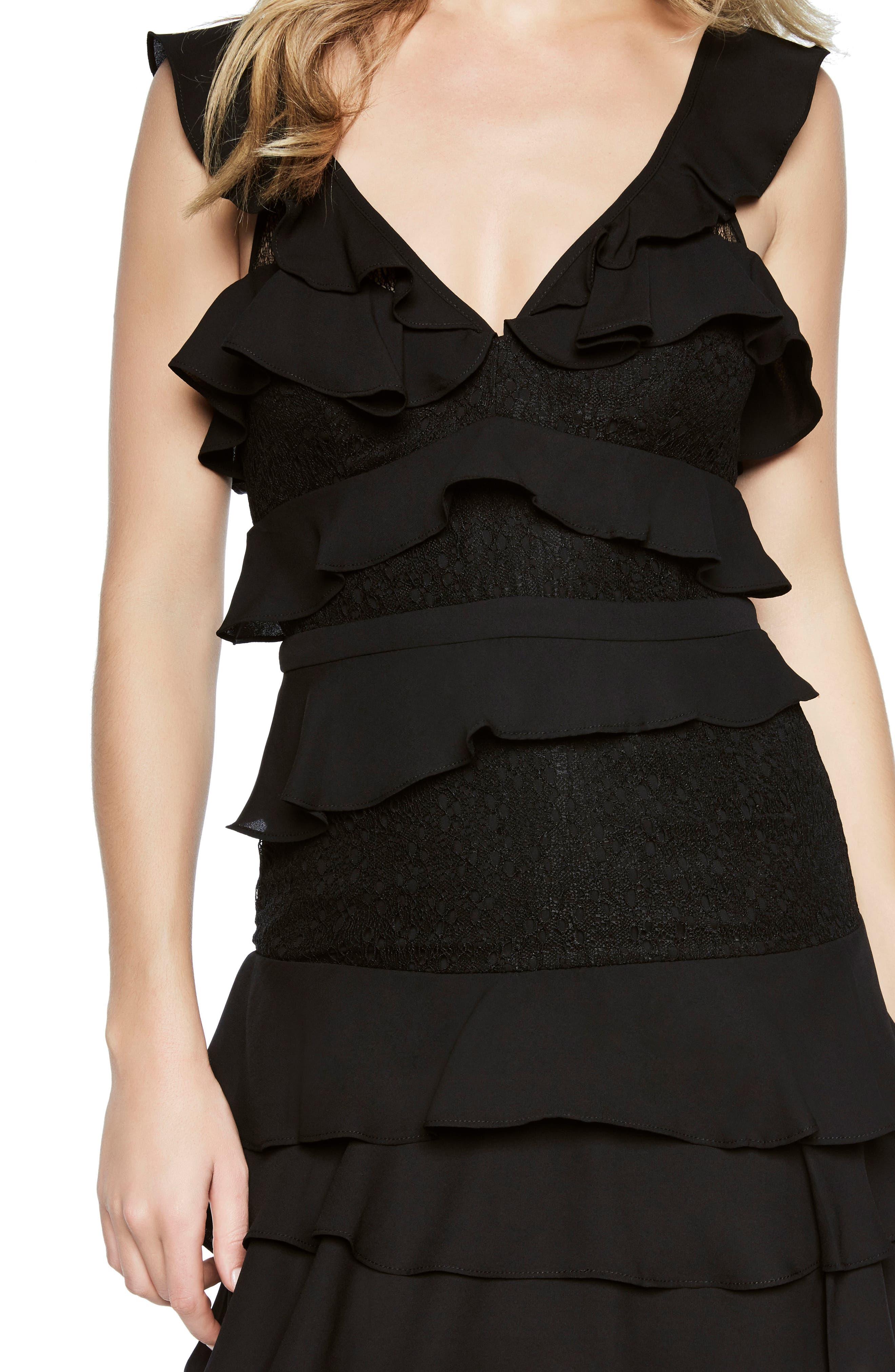 Babylon Ruffle Lace Minidress,                             Alternate thumbnail 4, color,                             Black