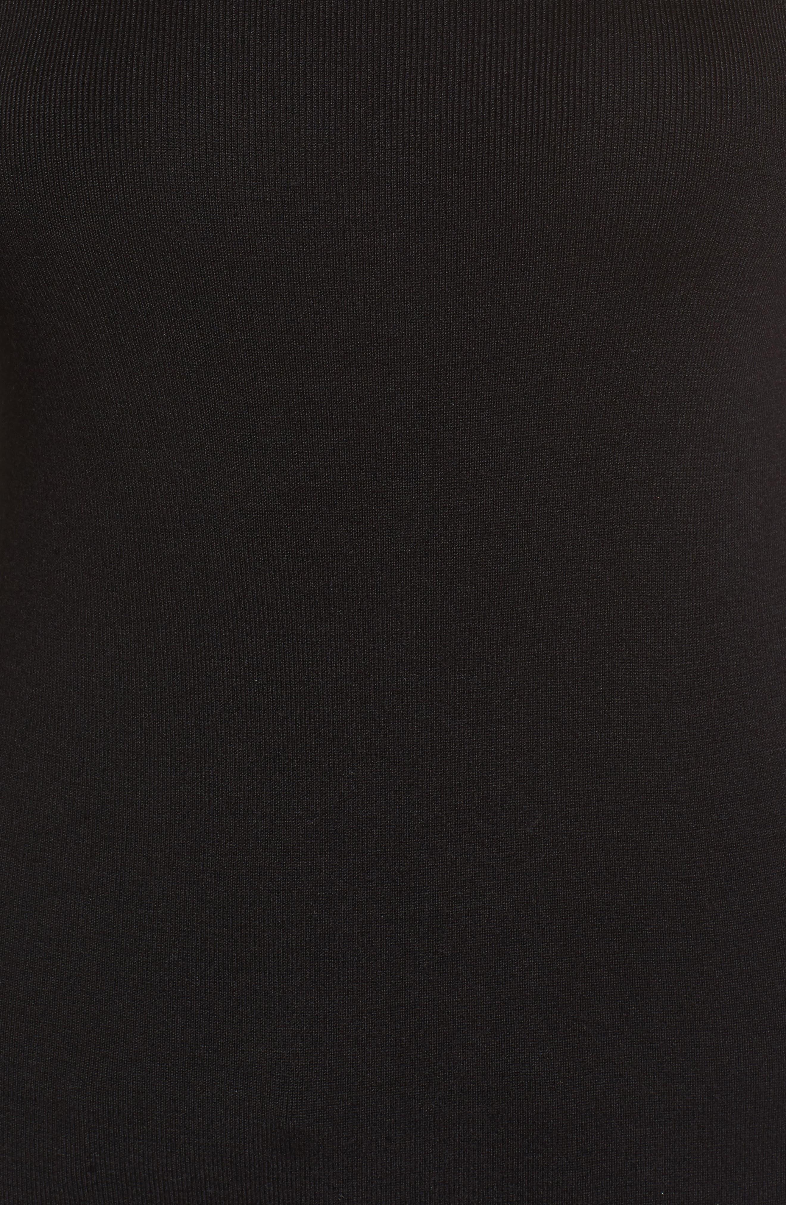 Poplin Bell Cuff Sweater,                             Alternate thumbnail 5, color,                             Black