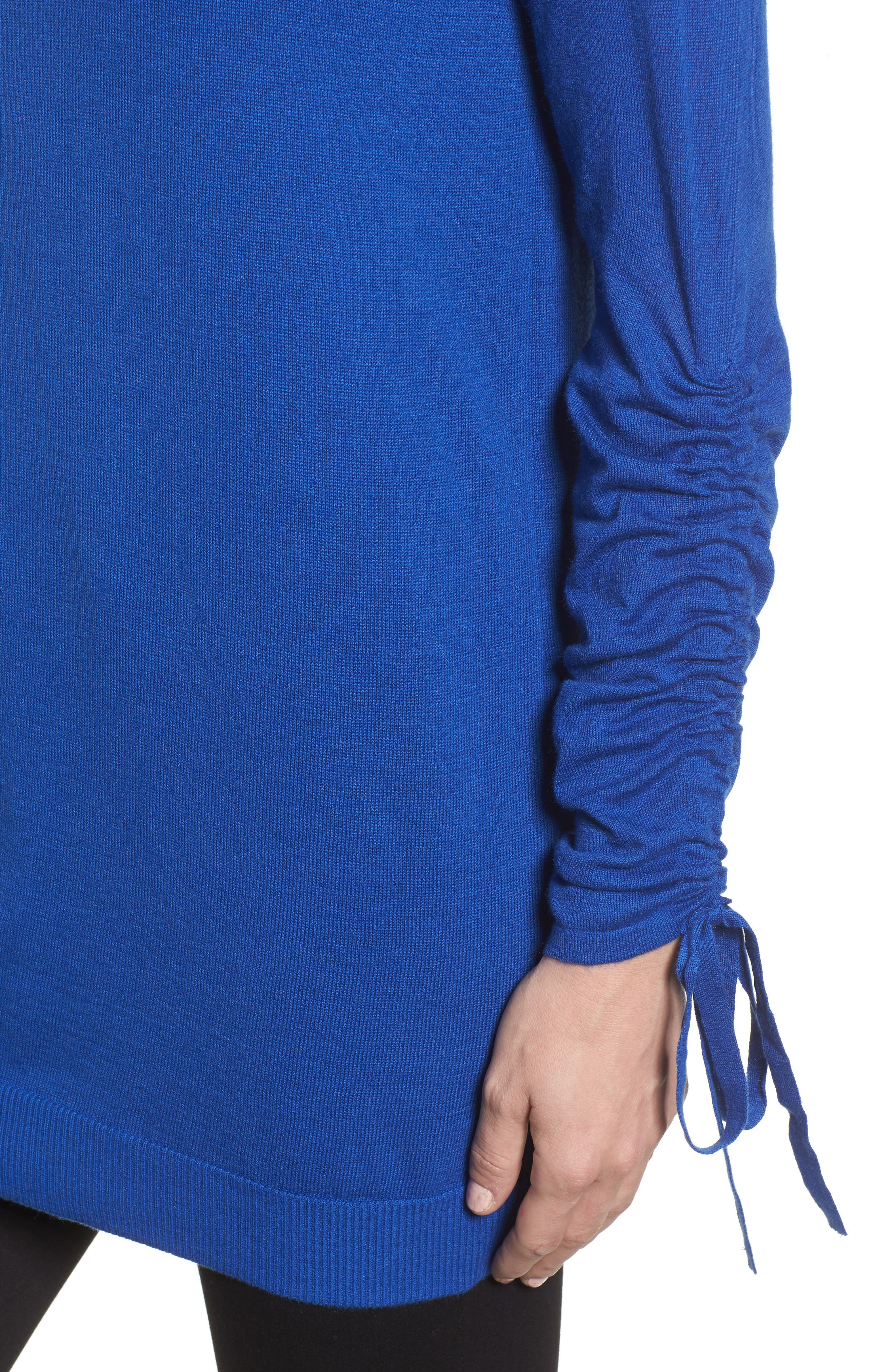 Ruched Sleeve Tunic Sweater,                             Alternate thumbnail 4, color,                             Blue Surf