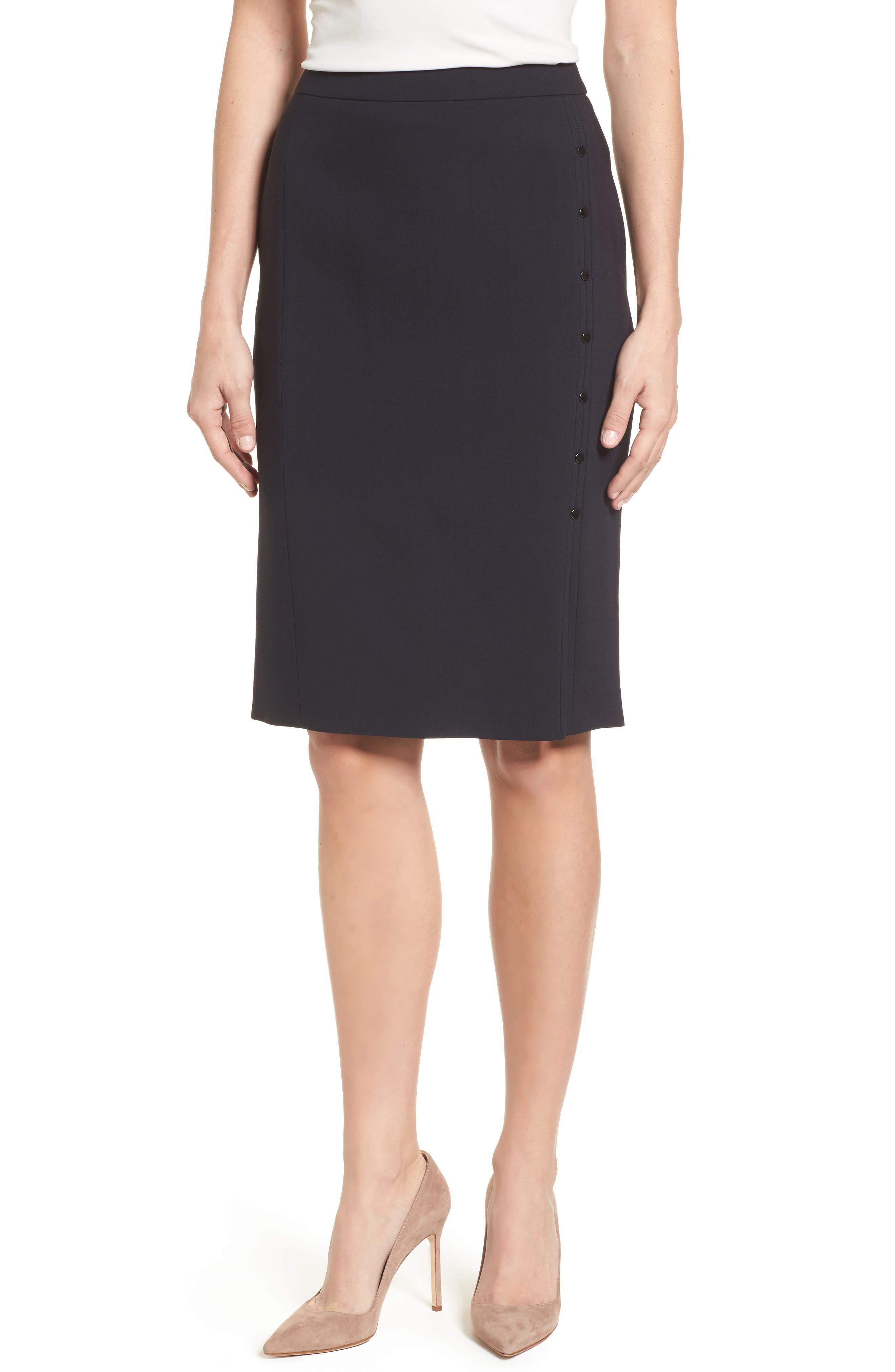 Vikilena Wool Pencil Skirt,                             Main thumbnail 1, color,                             Navy