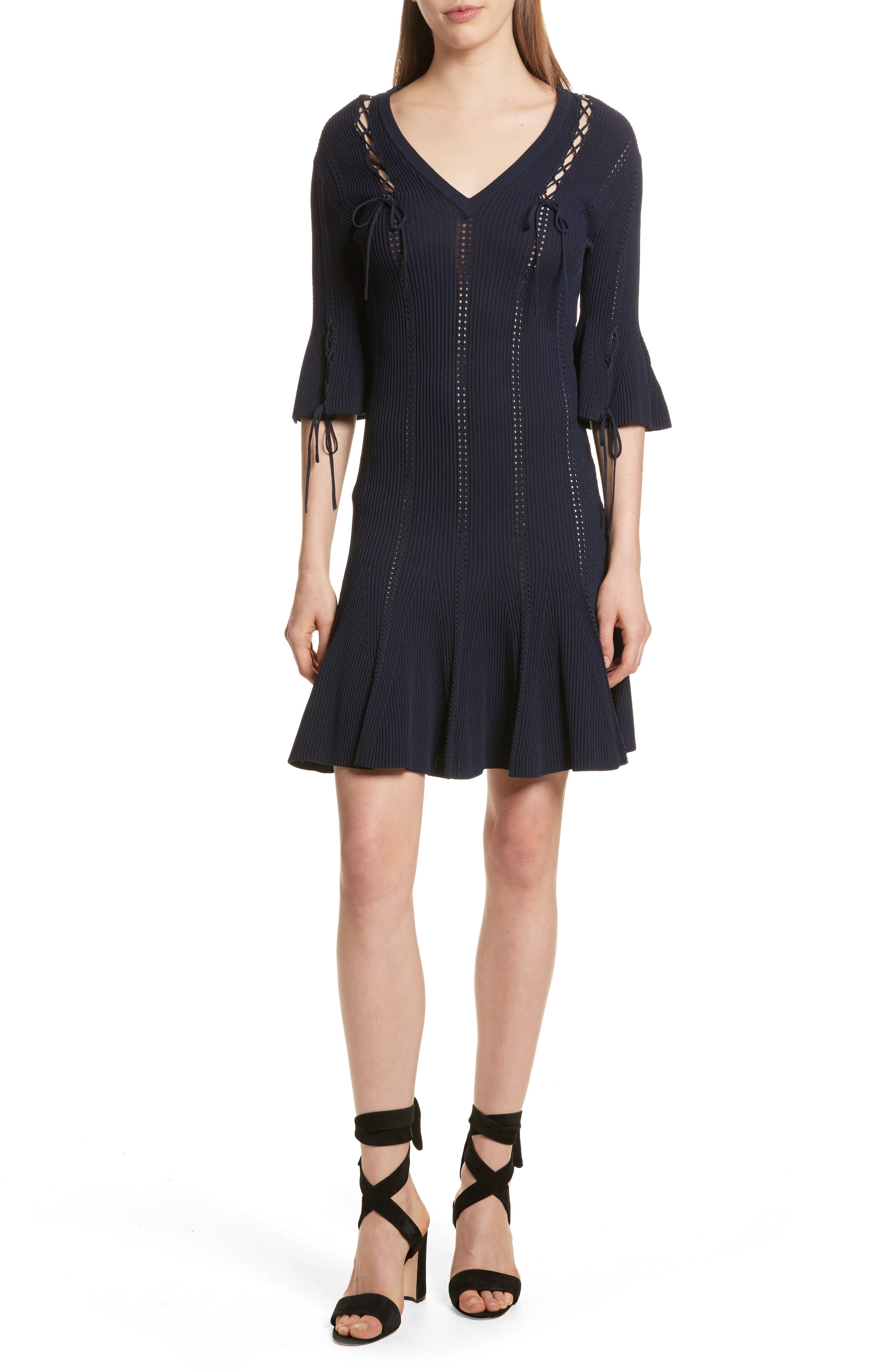 Lace-Up Detail Dress,                             Main thumbnail 1, color,                             Midnight
