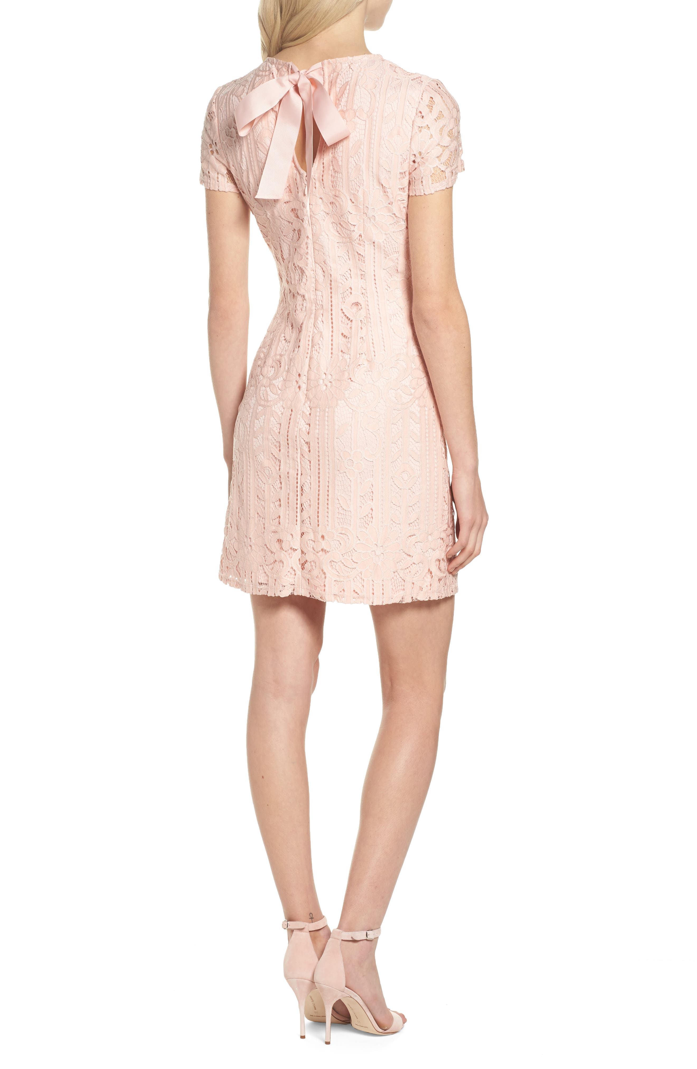 Lace Sheath Dress,                             Alternate thumbnail 2, color,                             Blush