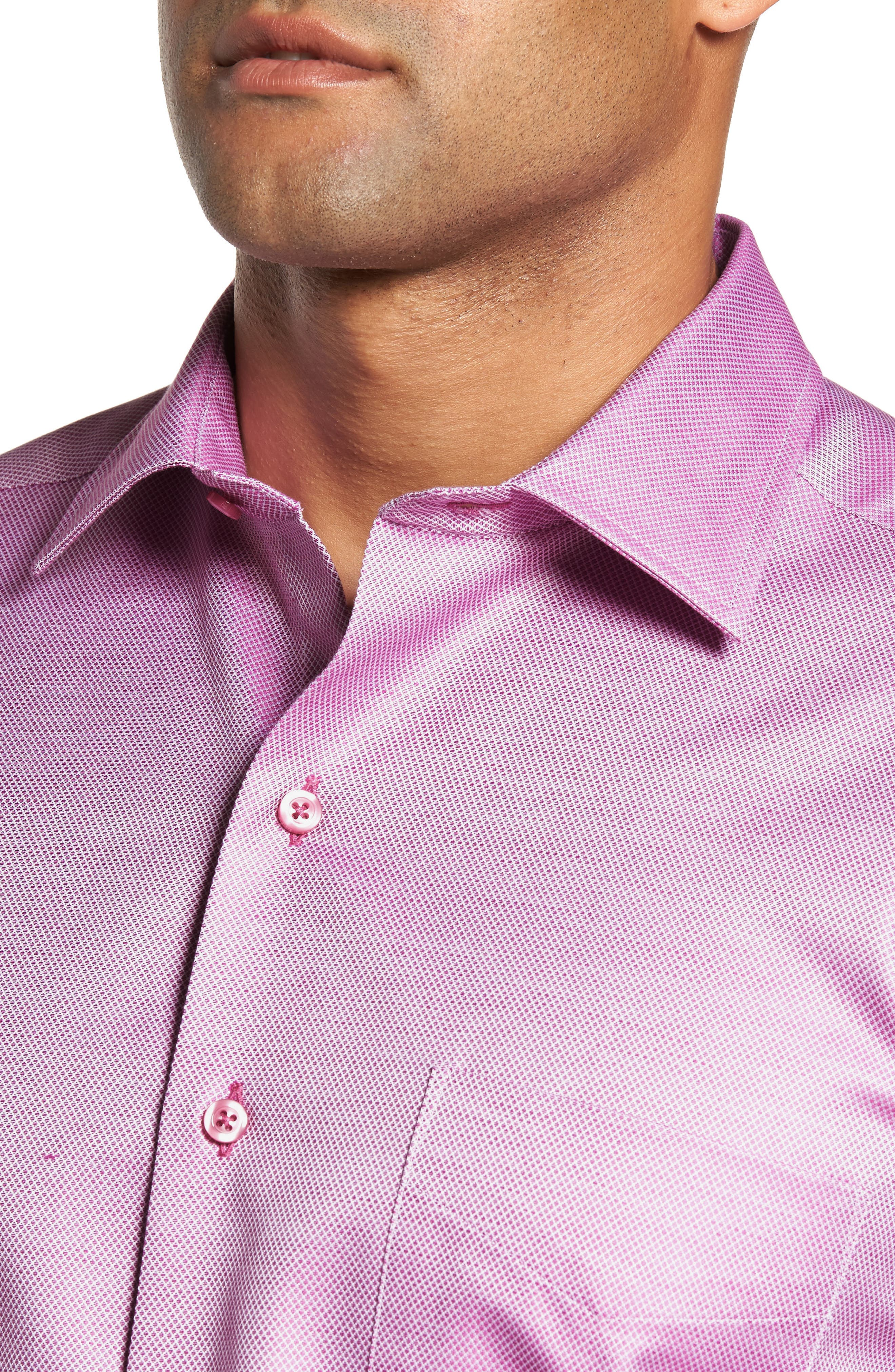 Solid Sport Shirt,                             Alternate thumbnail 4, color,                             Berry