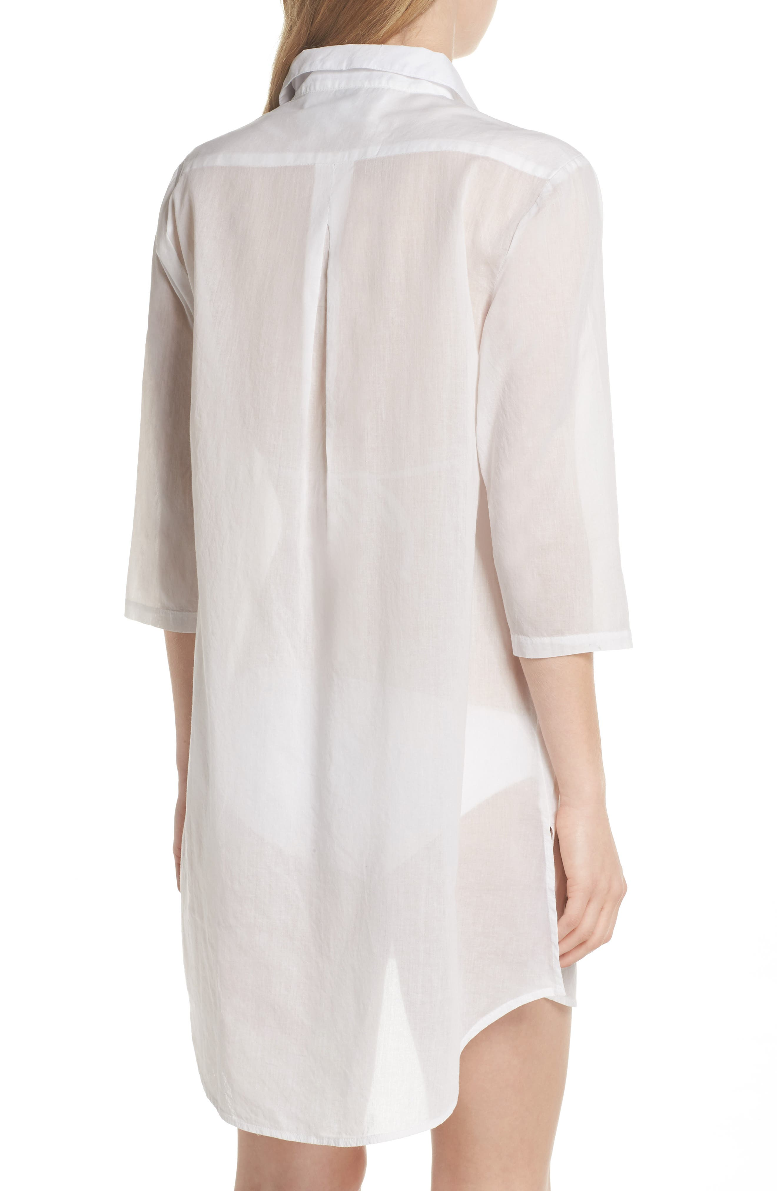 Solid Cover-Up Dress,                             Alternate thumbnail 2, color,                             White