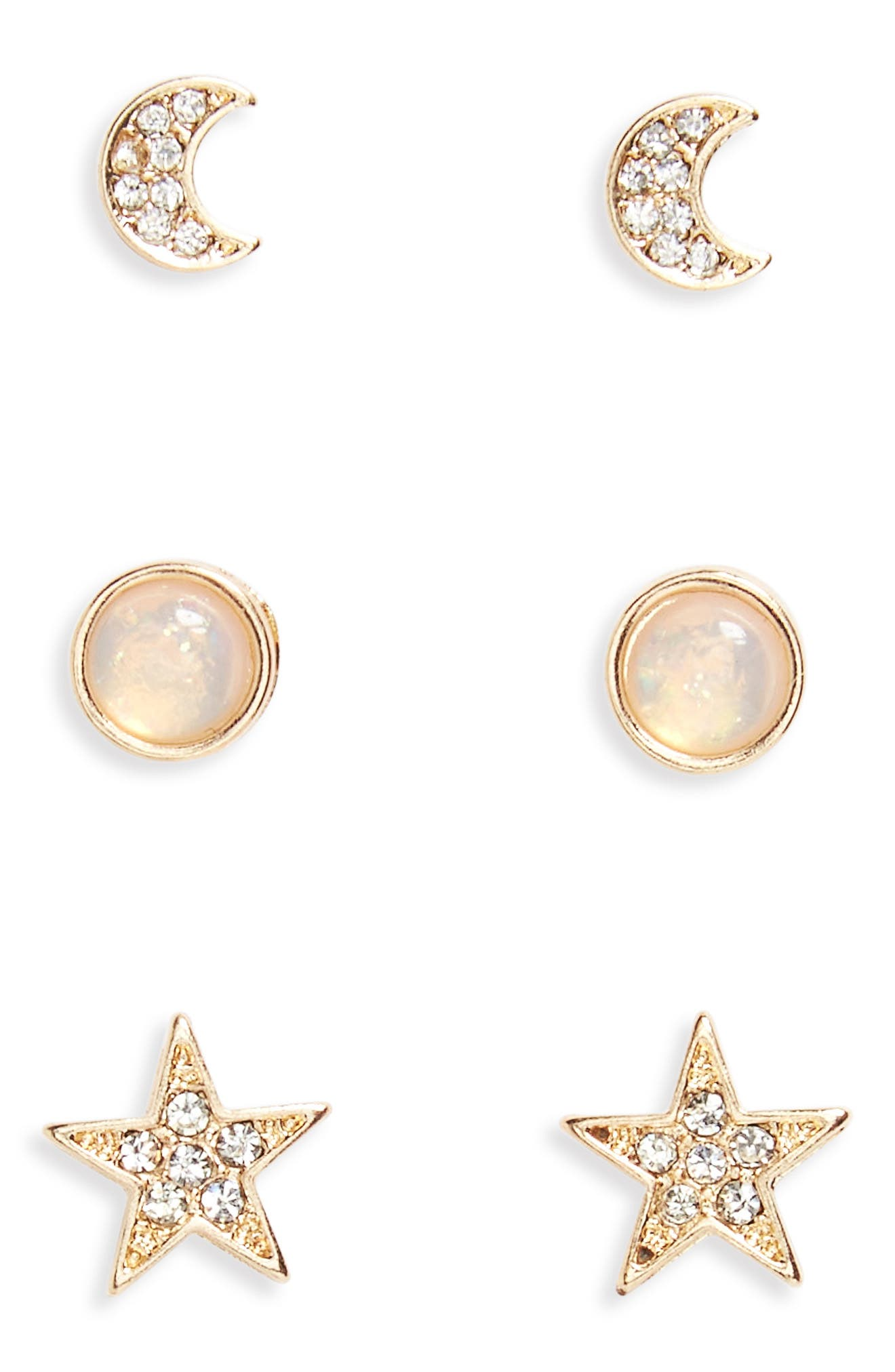 Moon, Star & Faux Opal 3-Pack Earrings,                             Main thumbnail 1, color,                             Gold