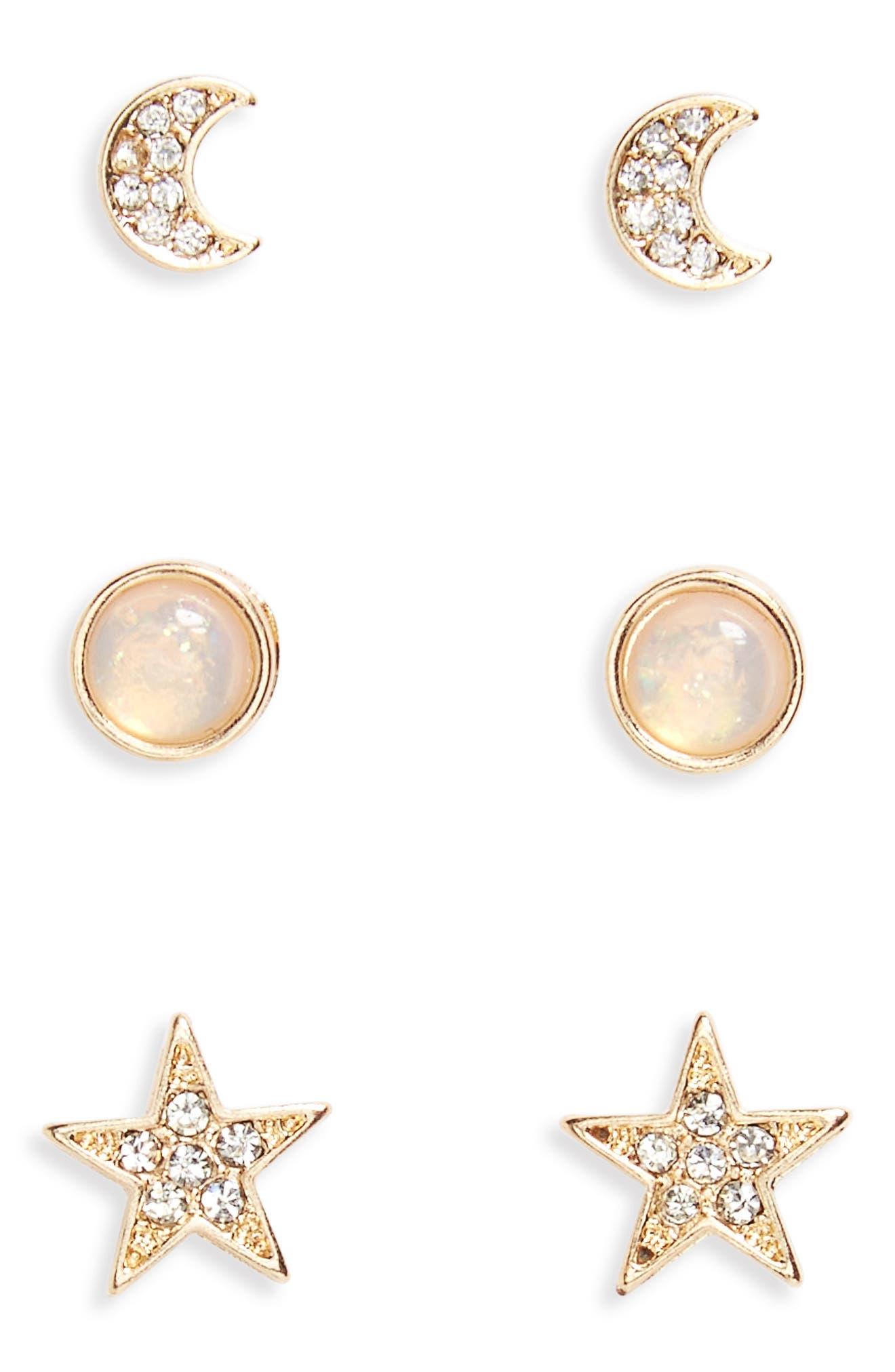 Main Image - Loren Olivia Moon, Star & Faux Opal 3-Pack Earrings