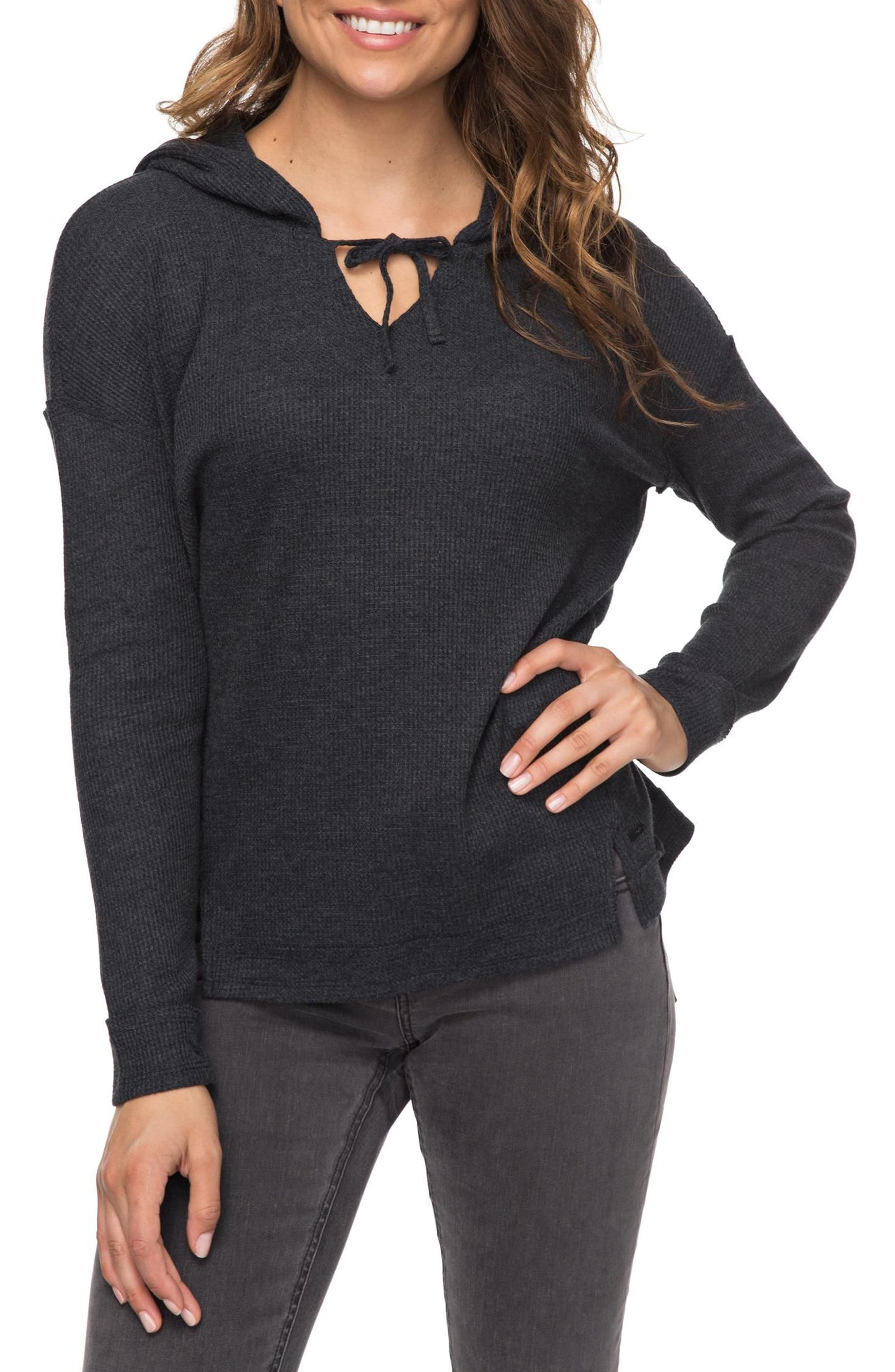 Wanted and Wild Hooded Thermal Top,                             Main thumbnail 1, color,                             Anthracite