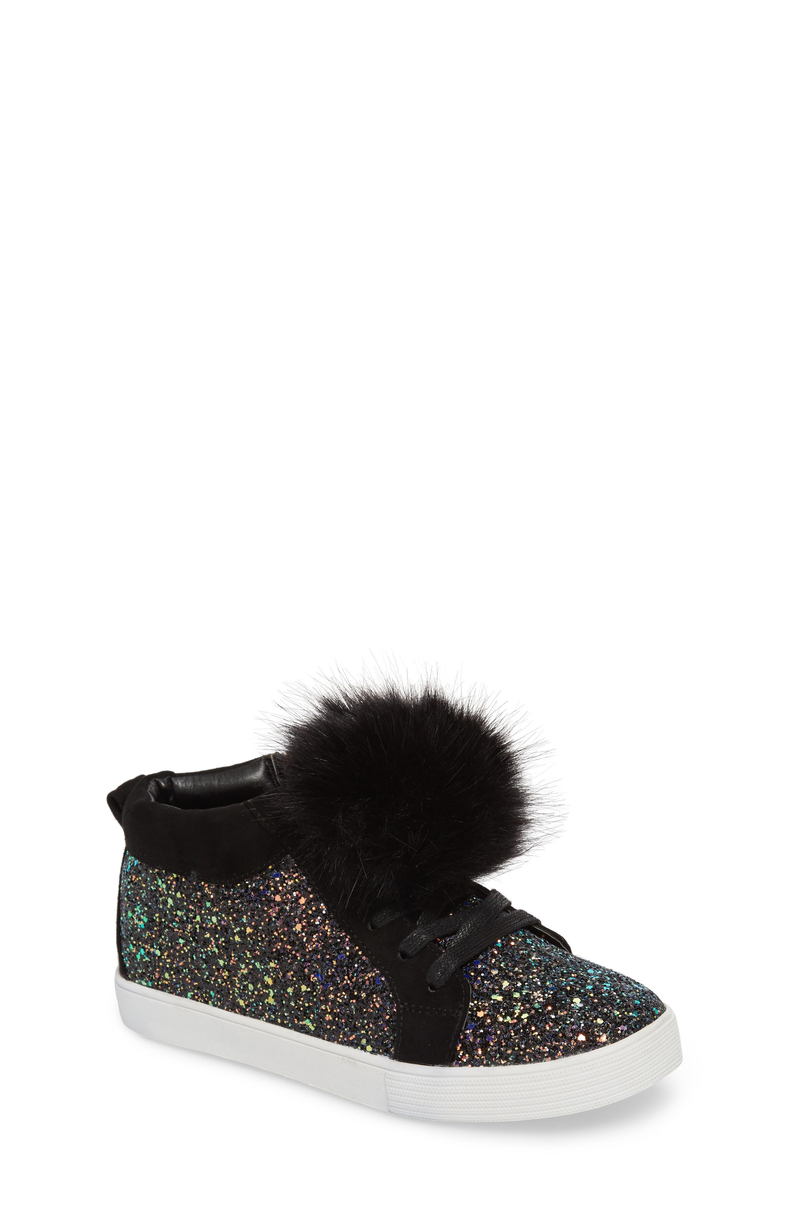 Bella Hira Faux Fur Glitter Pom Sneaker,                         Main,                         color, Black Multi Chunky Glitter