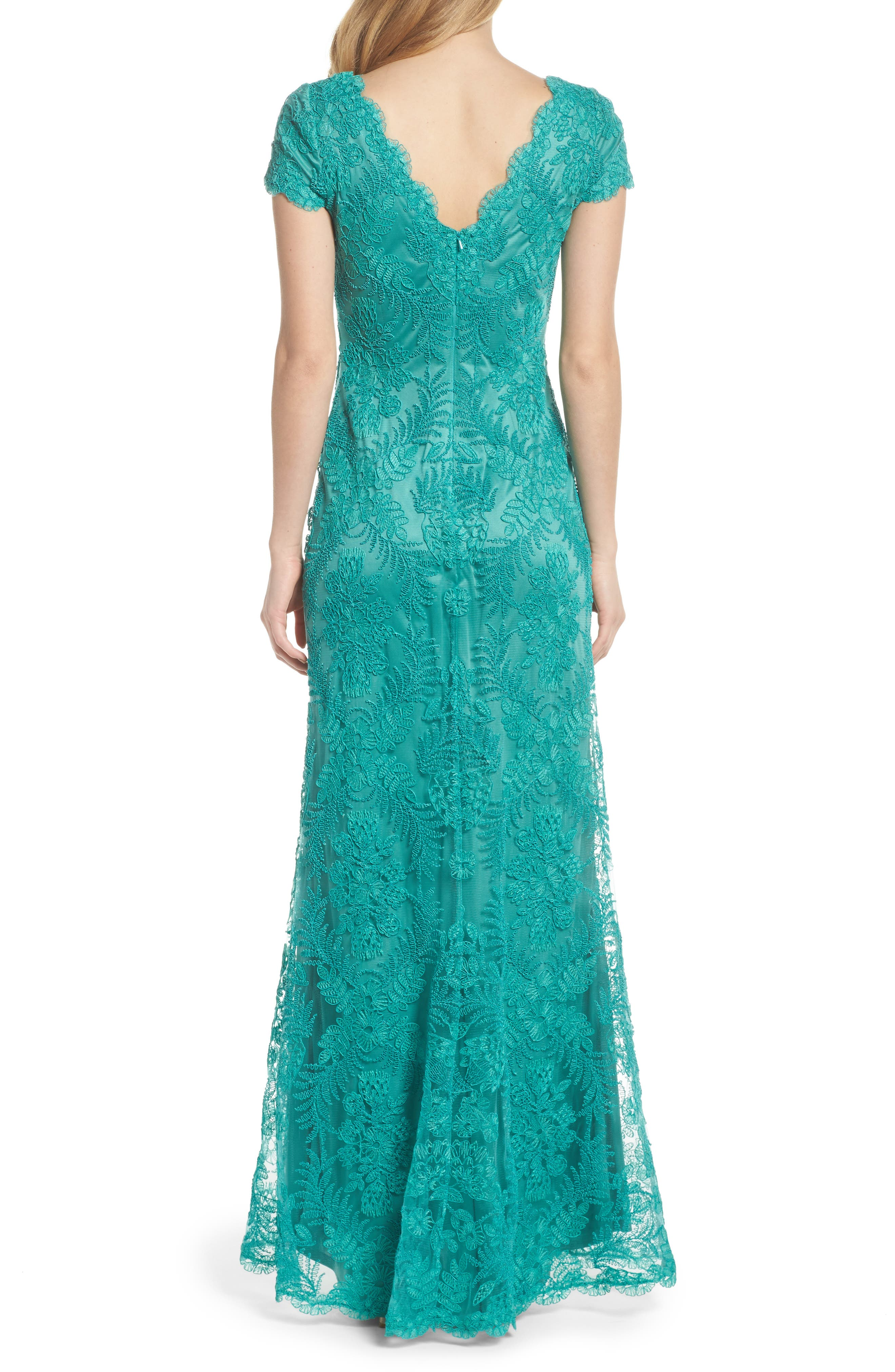 Embroidered Gown,                             Alternate thumbnail 2, color,                             Cool Aqua