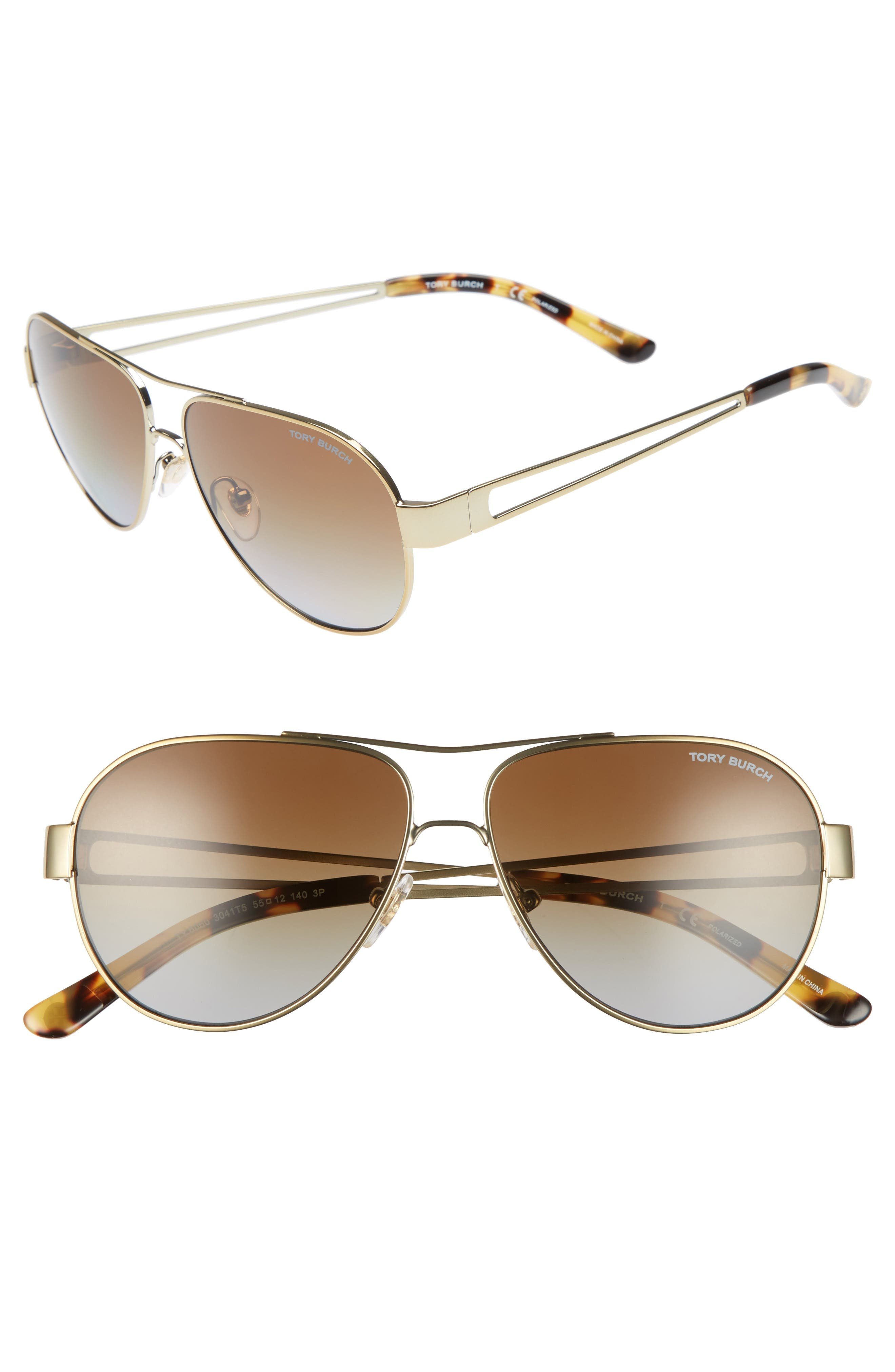 Alternate Image 1 Selected - Tory Burch 55mm Polarized Aviator Sunglasses