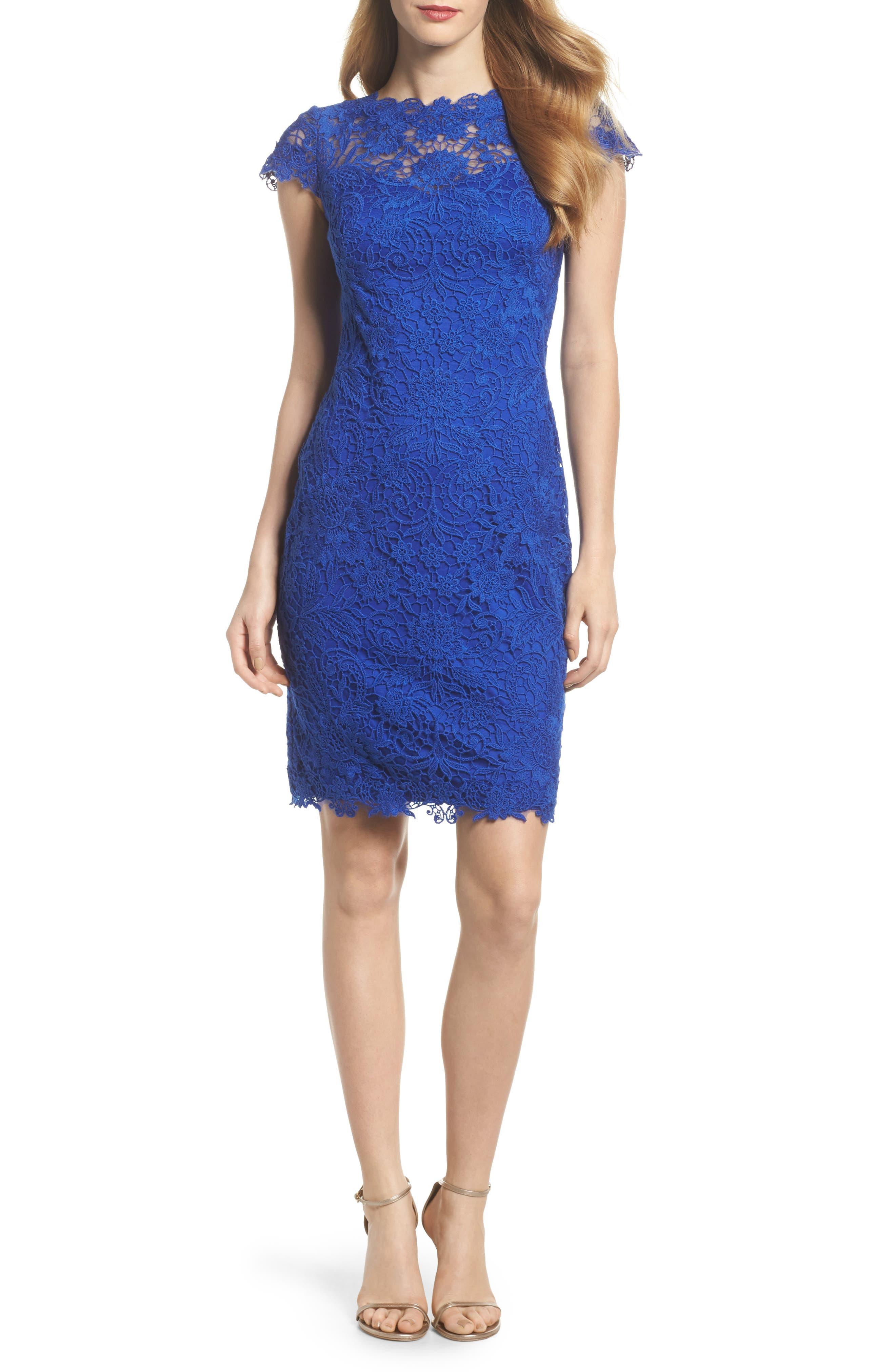 Crochet Sheath Dress,                         Main,                         color, Horizon Blue