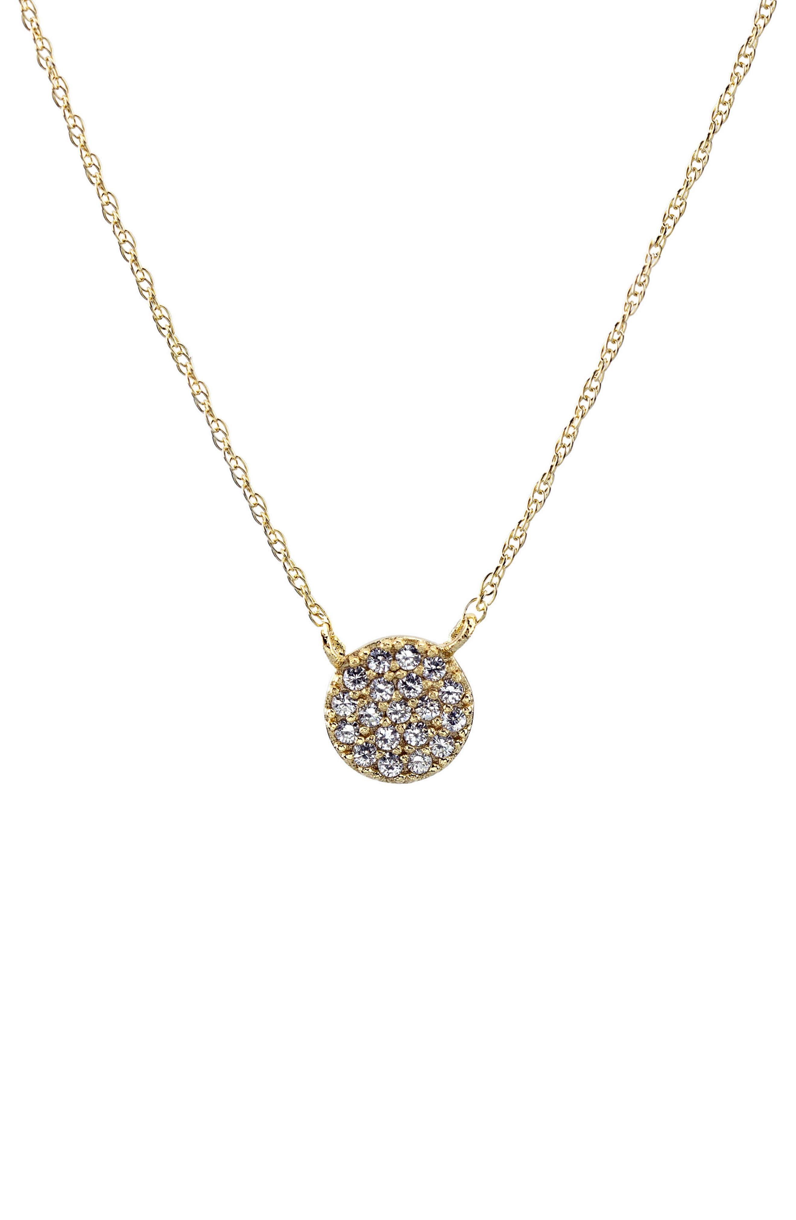 Pavé Round Charm Necklace,                             Main thumbnail 1, color,                             Gold