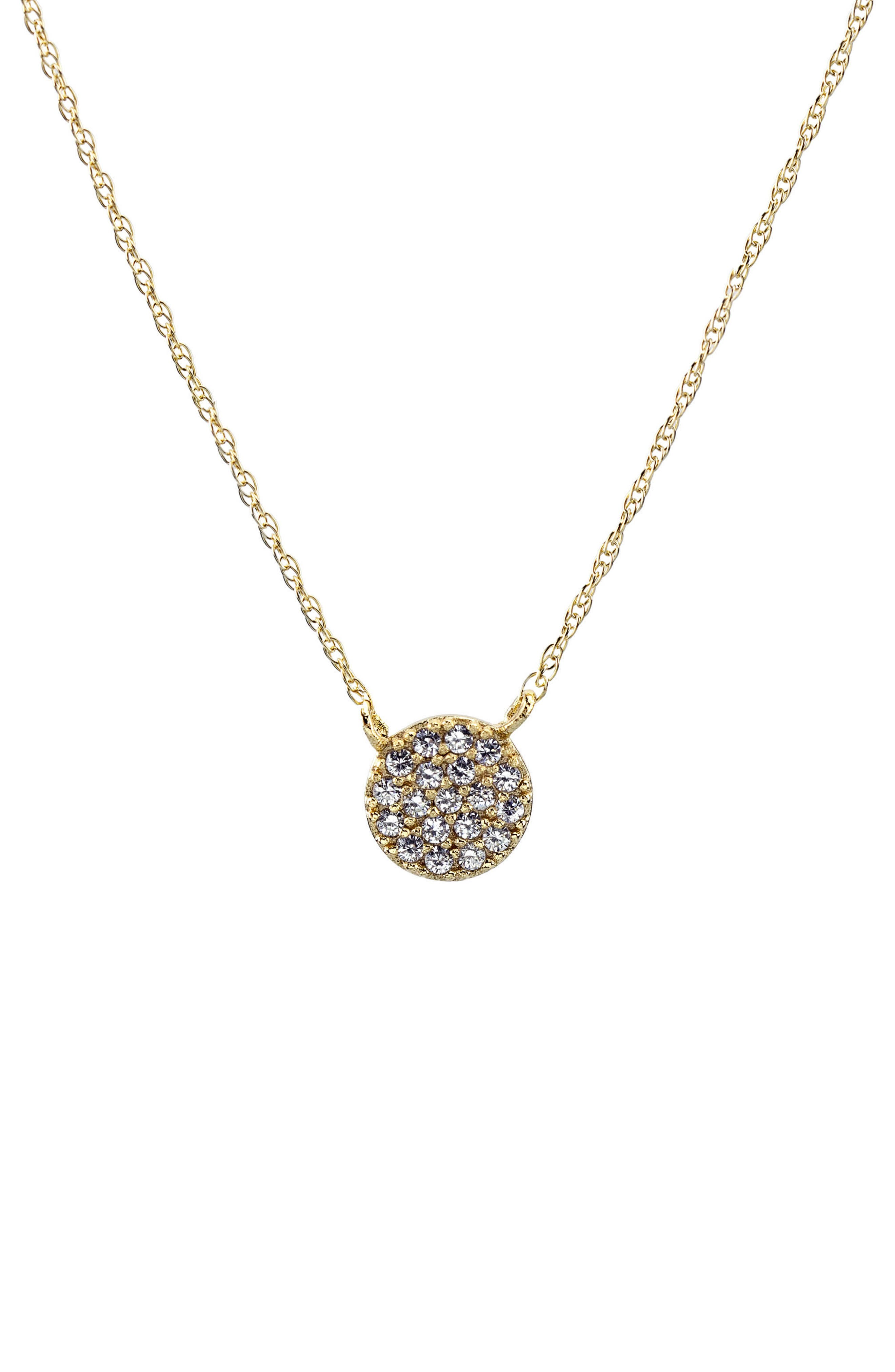 Pavé Round Charm Necklace,                         Main,                         color, Gold