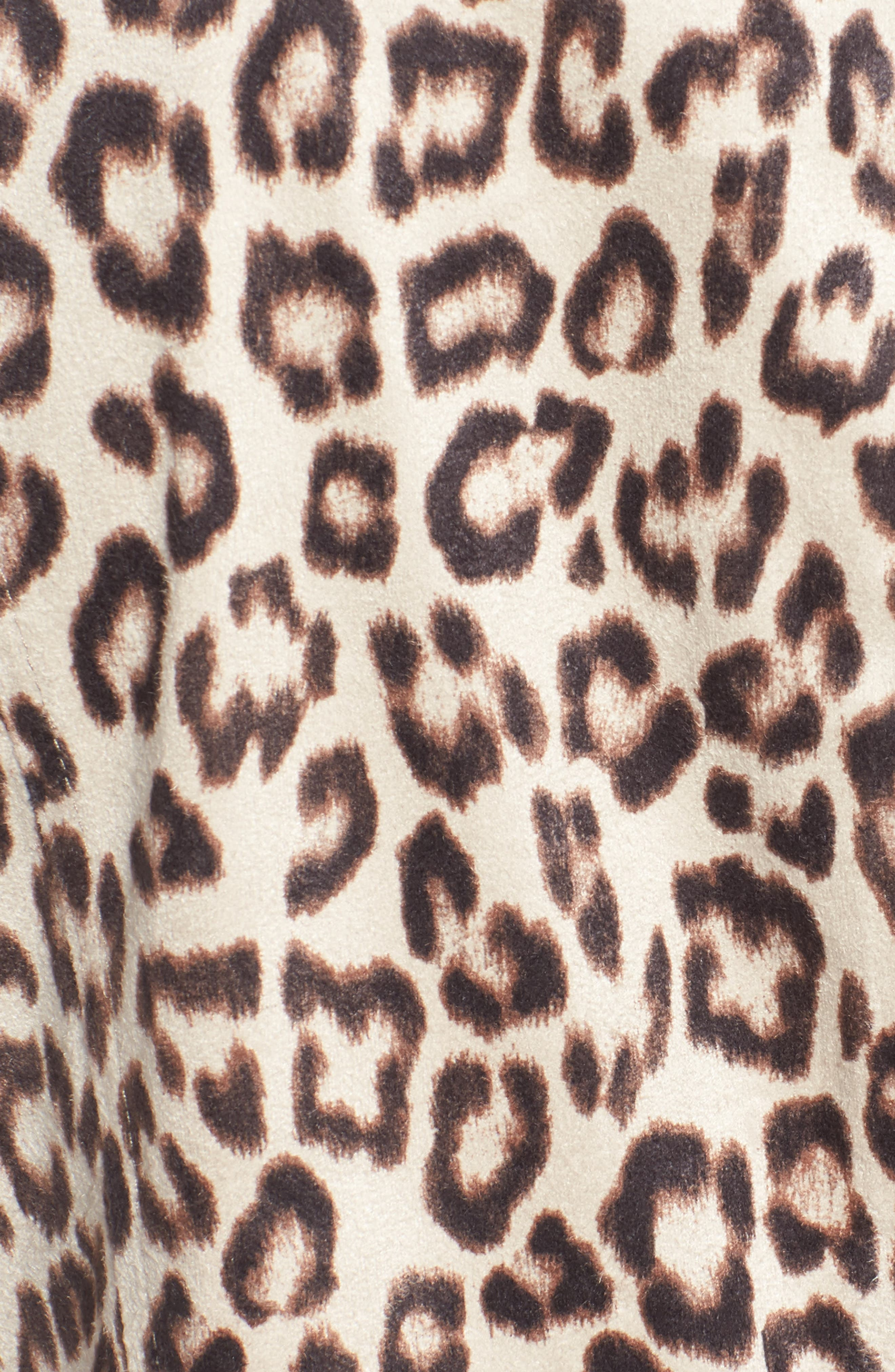 Aleah Leopard Print Faux Suede Drape Front Jacket,                             Alternate thumbnail 5, color,                             Light Tan