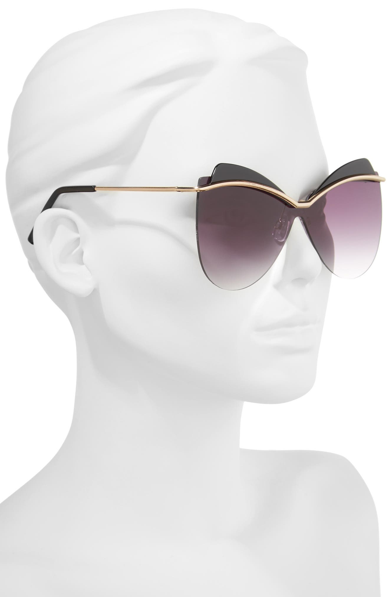 65mm Rimless Shield Sunglasses,                             Alternate thumbnail 2, color,                             Black/ Gold