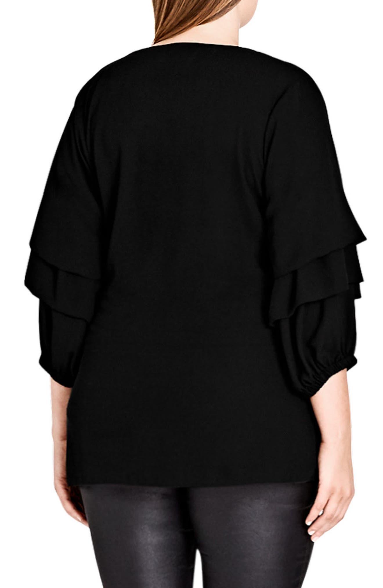 Alternate Image 2  - City Chic Desire Faux Wrap Shirt (Plus Size)