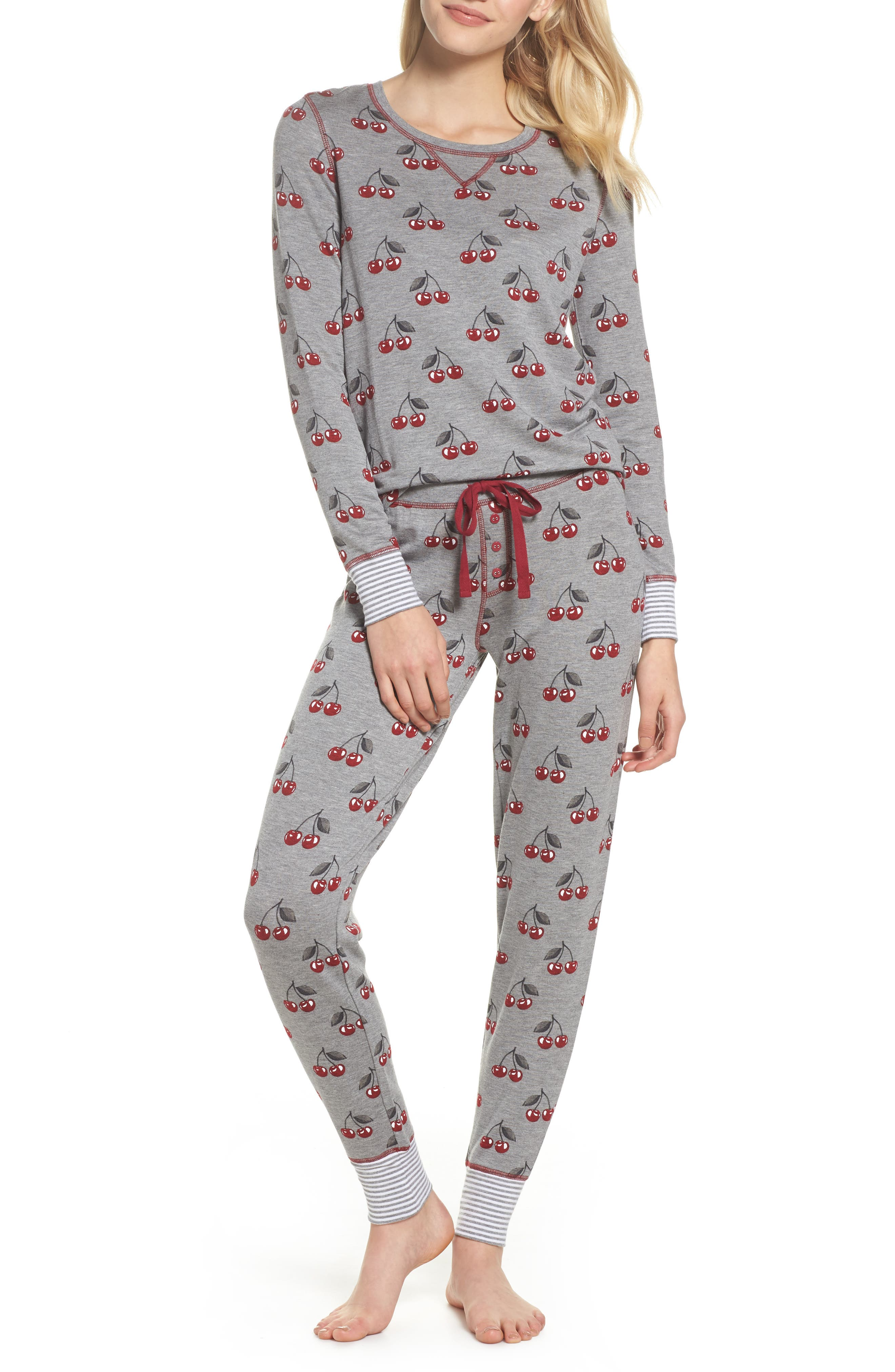 Cherry Lounge Jogger Pants,                             Alternate thumbnail 5, color,                             Heather Grey