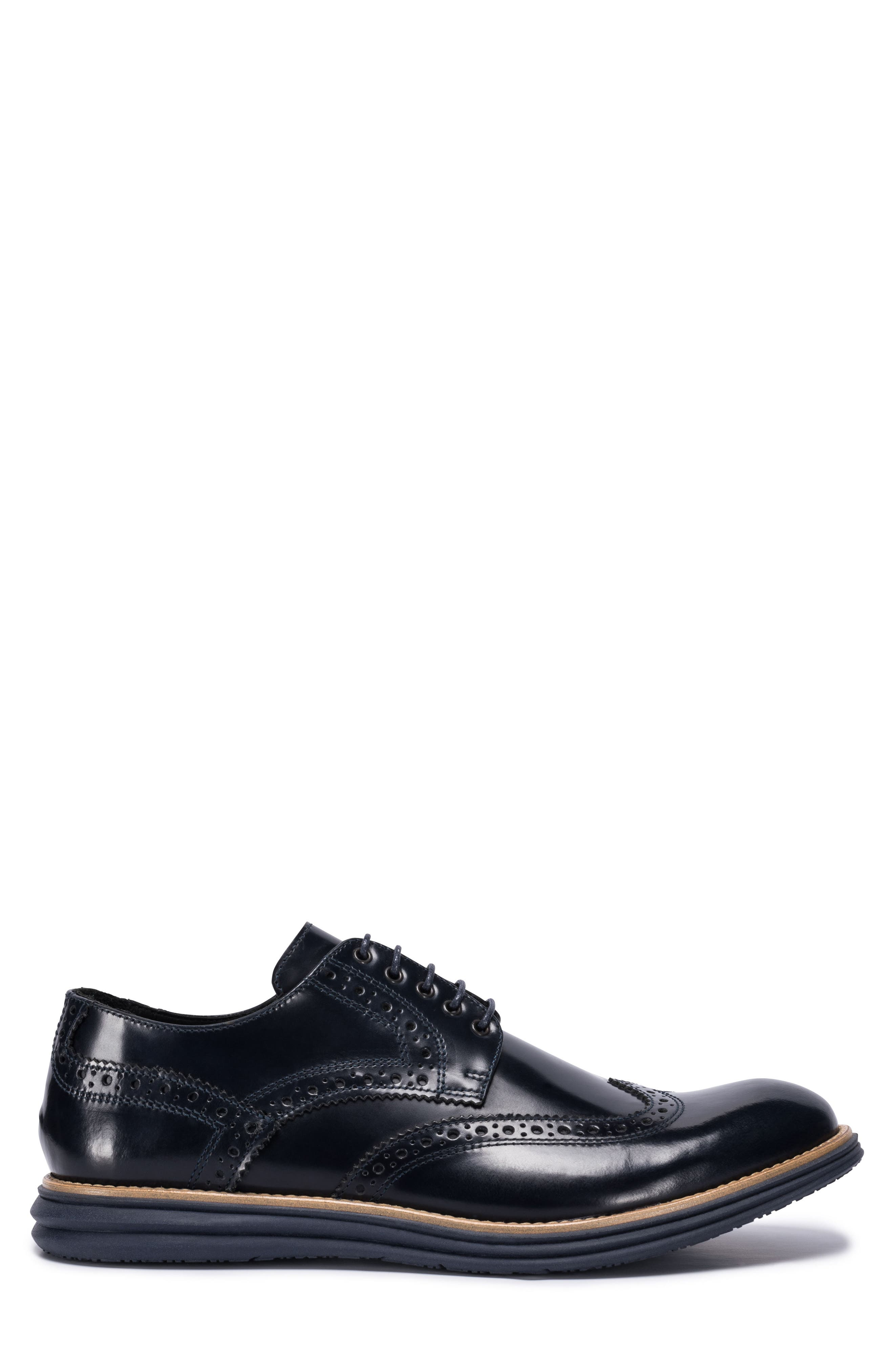 Novara Wingtip Derby,                             Alternate thumbnail 3, color,                             Navy Leather
