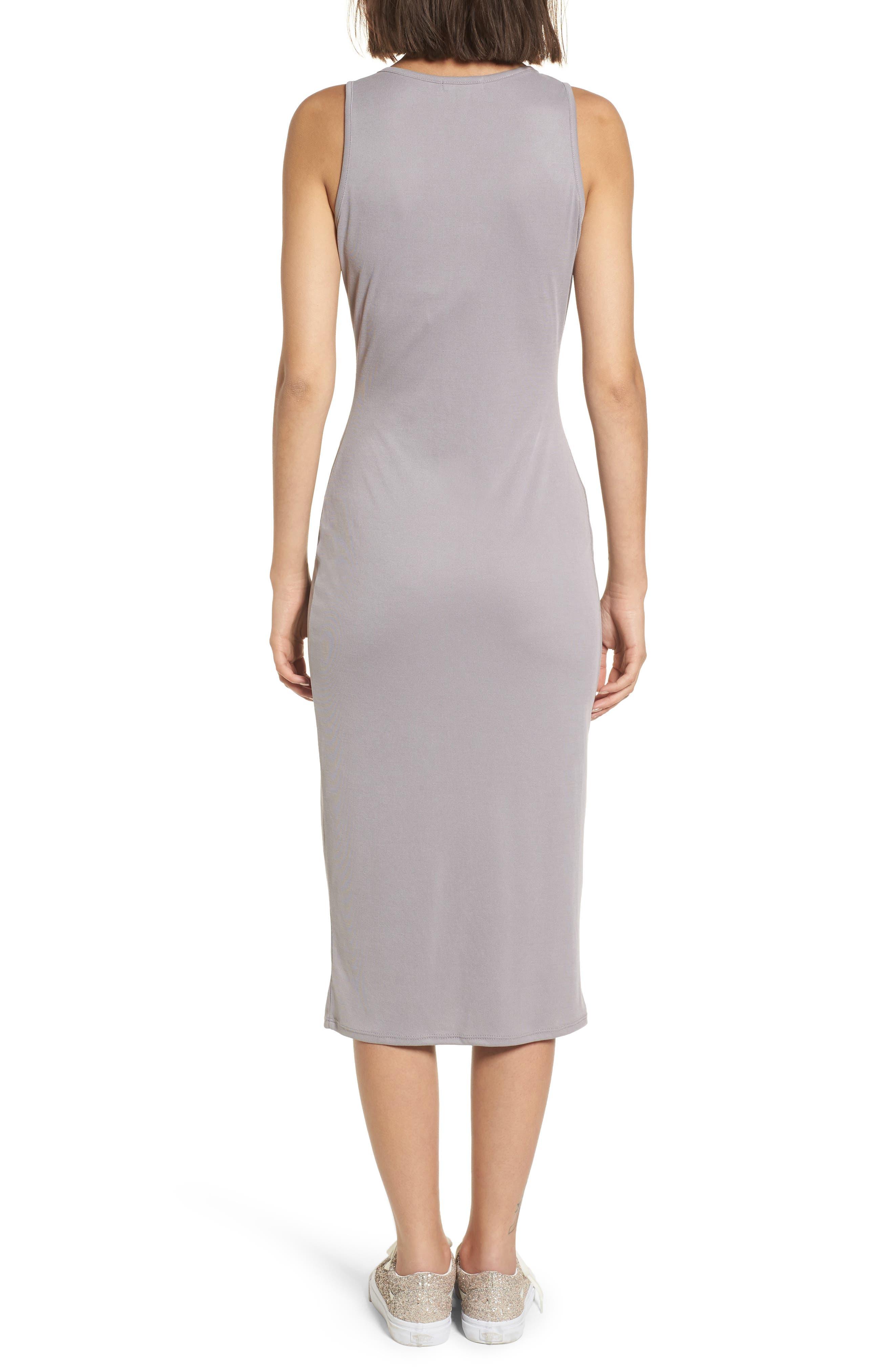 Snap Front Midi Dress,                             Alternate thumbnail 2, color,                             Grey Cloudburst