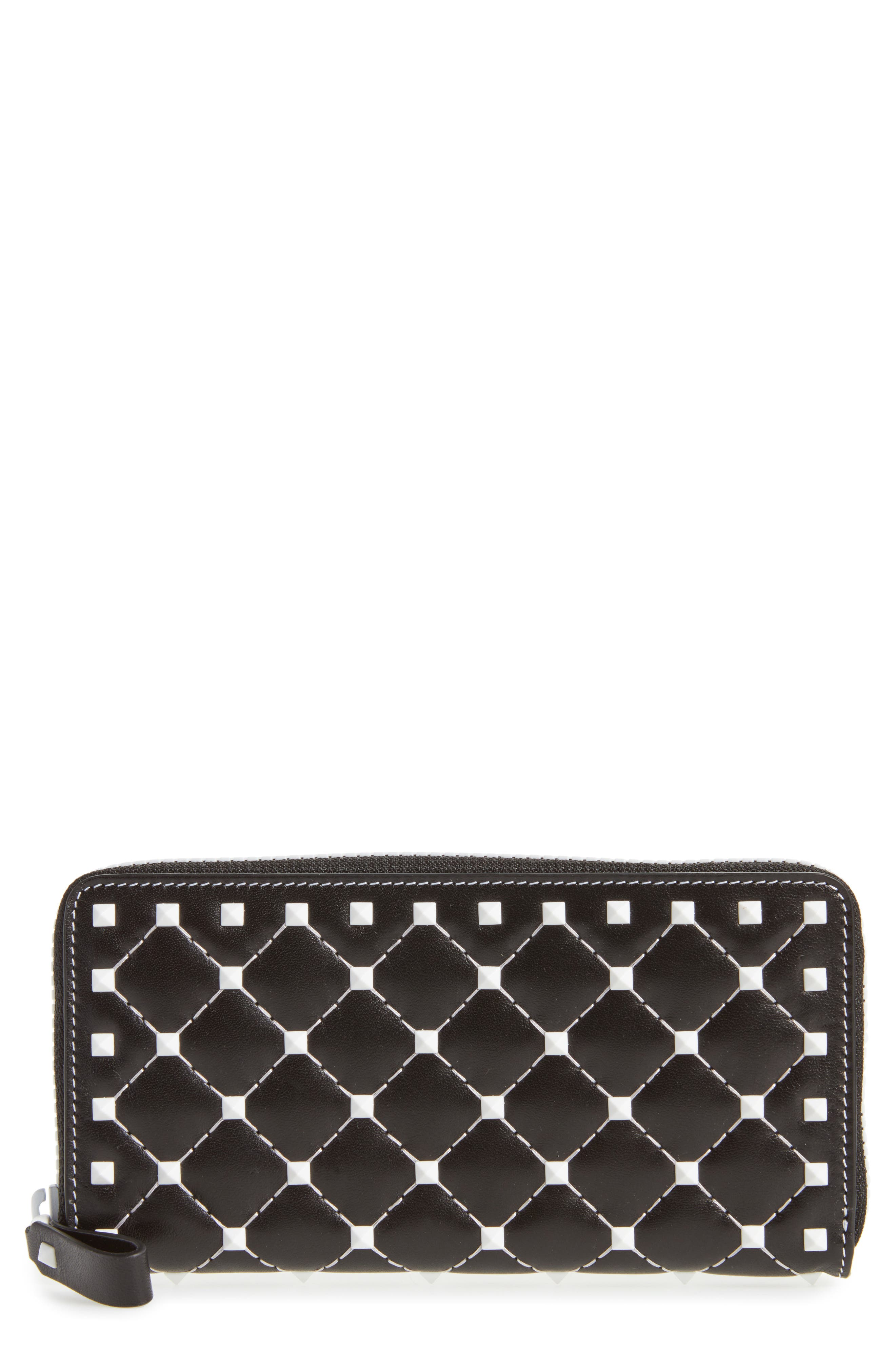 Rockstud Spike Zip Around Leather Wallet,                         Main,                         color, Black