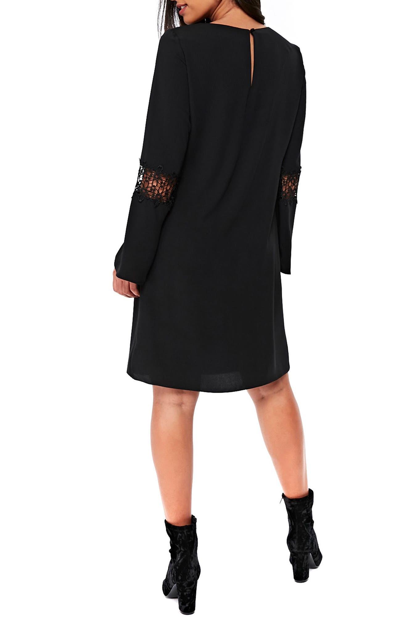 Crochet Inset Shift Dress,                             Alternate thumbnail 2, color,                             Black