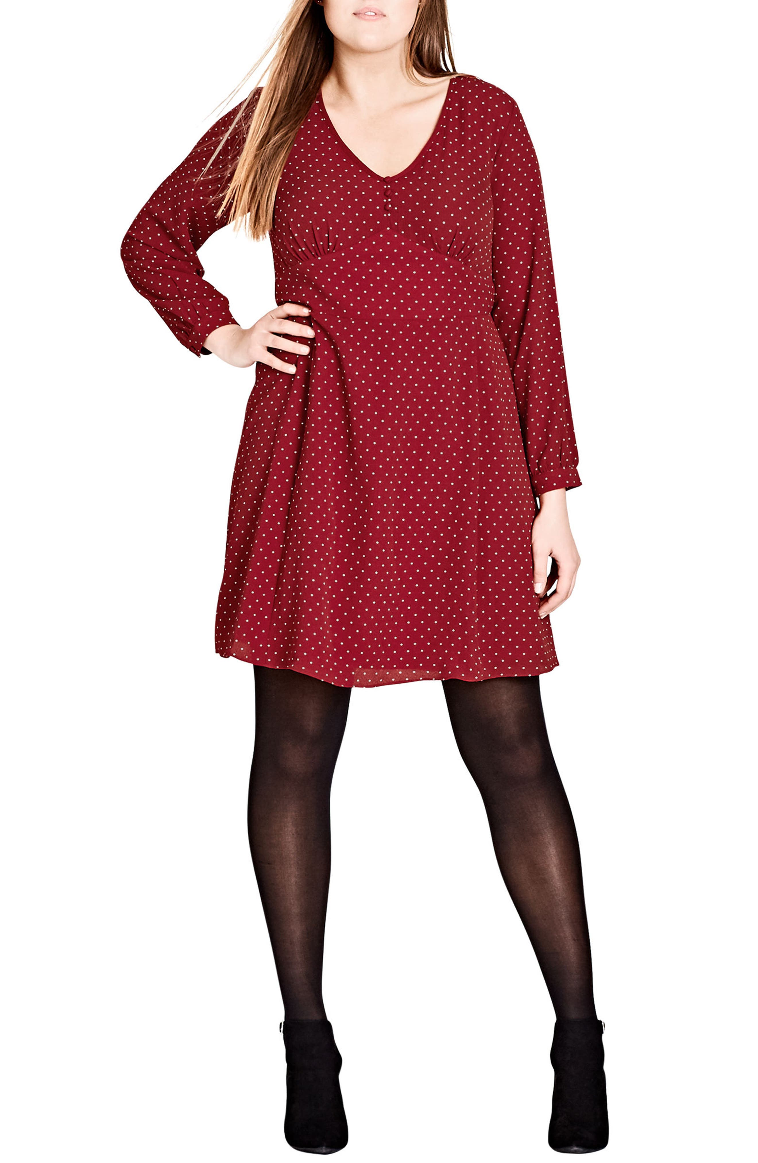 Sweet Nothing Polka Dot Dress,                             Main thumbnail 1, color,                             Red Rose