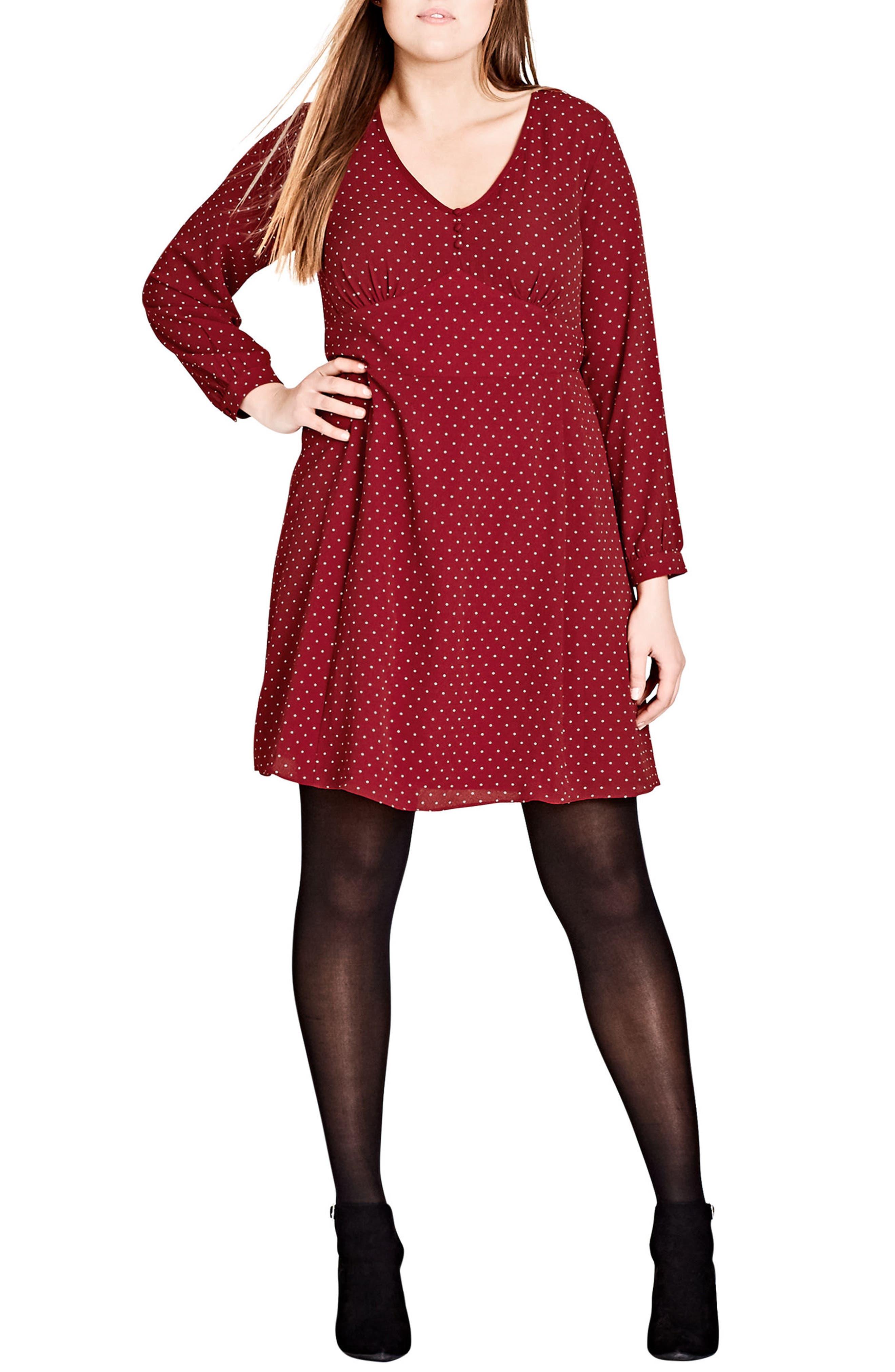 Main Image - City Chic Sweet Nothing Polka Dot Dress (Plus Size)