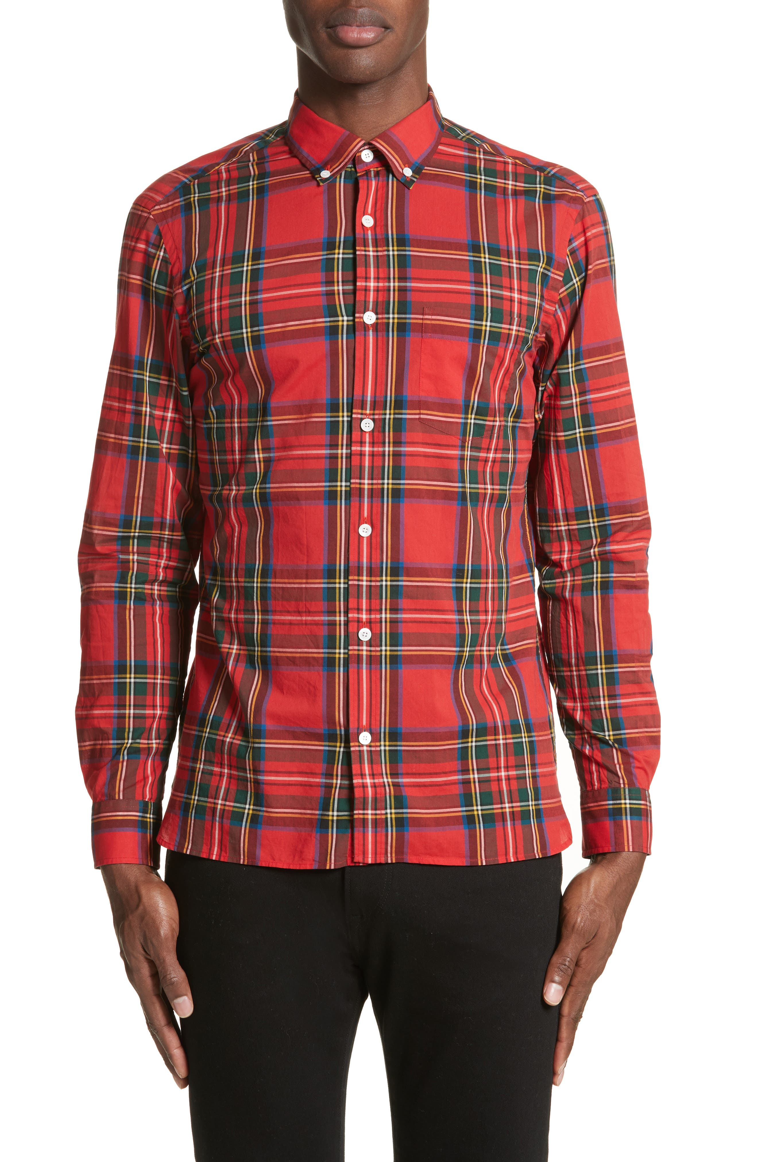 Salwick Plaid Sport Shirt,                         Main,                         color, Bright Red