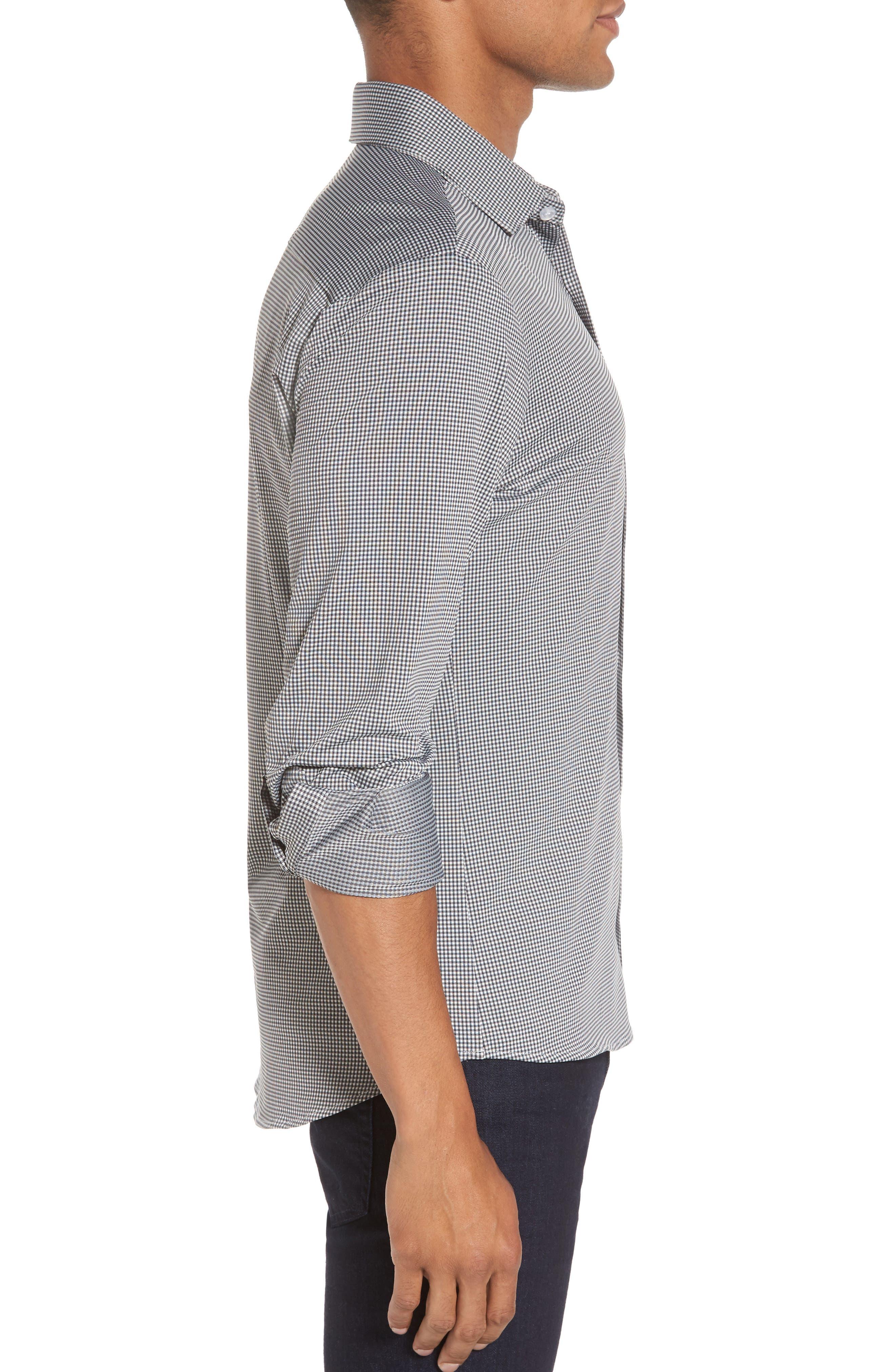 Davenport Gingham Sport Shirt,                             Alternate thumbnail 3, color,                             Black Gingham