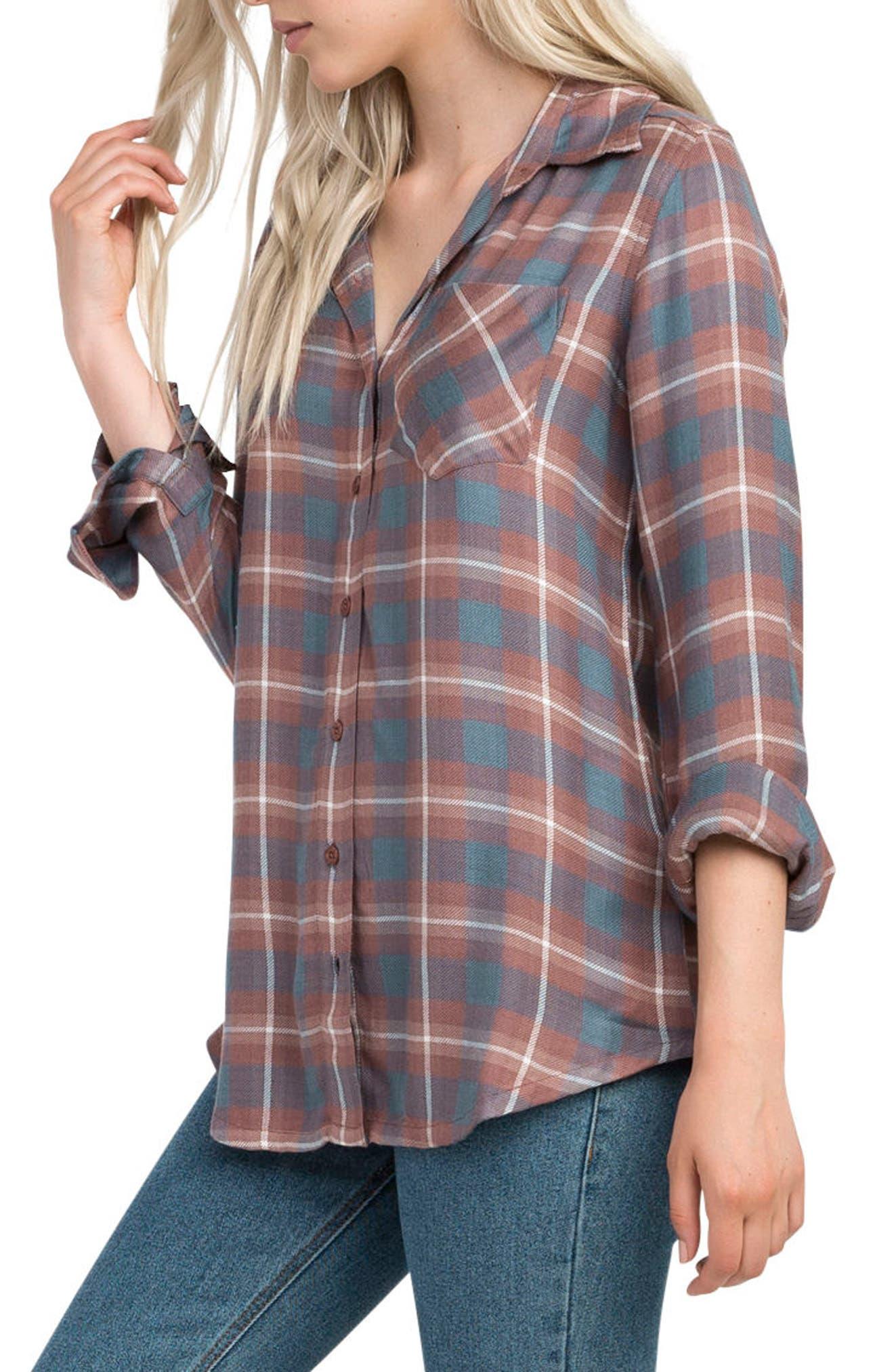 Alternate Image 4  - RVCA York Plaid Shirt